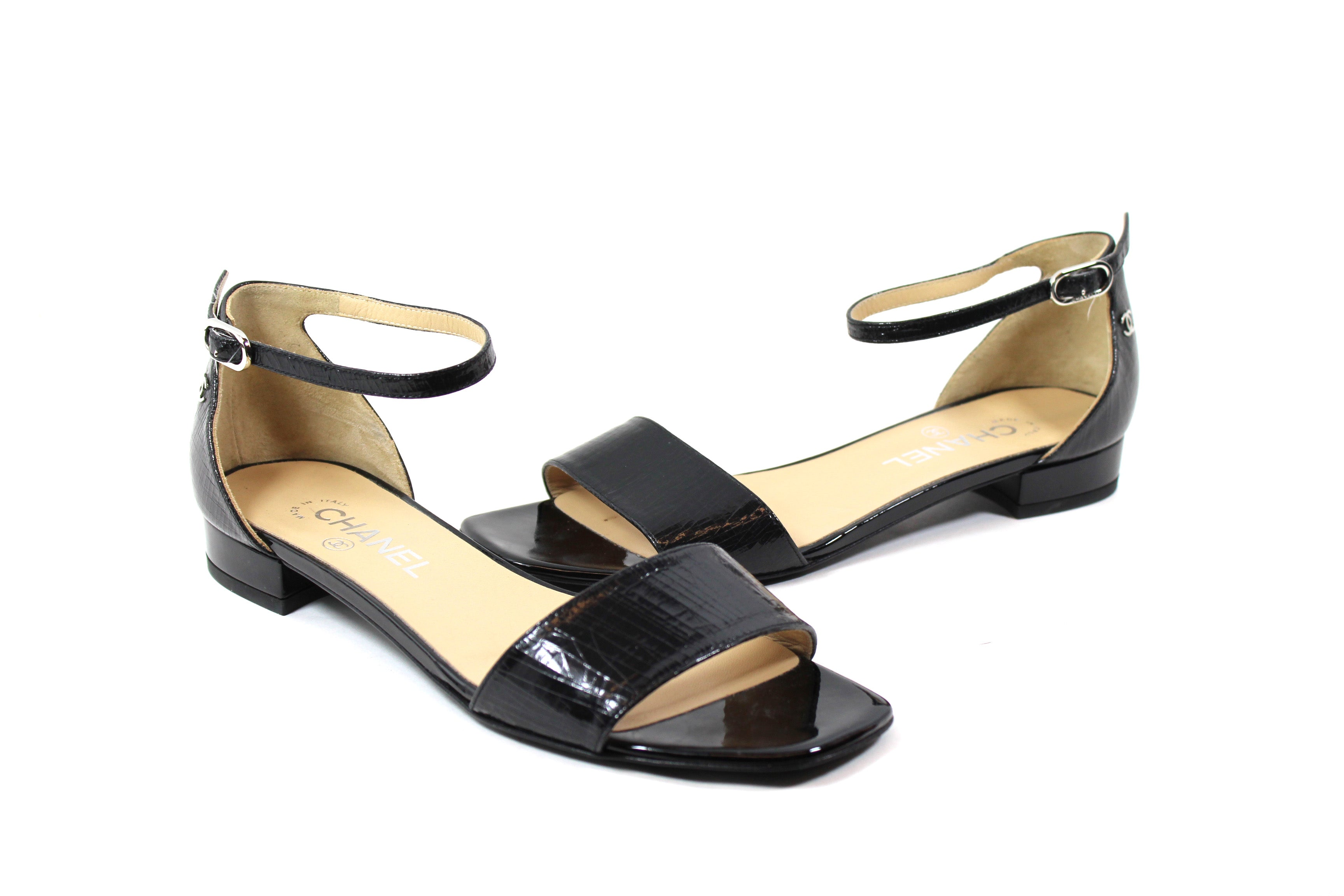 6a4e71d6d6 Sold' Chanel Black Crackled Patent Leather Sandals - G30827 (Size 38 ...