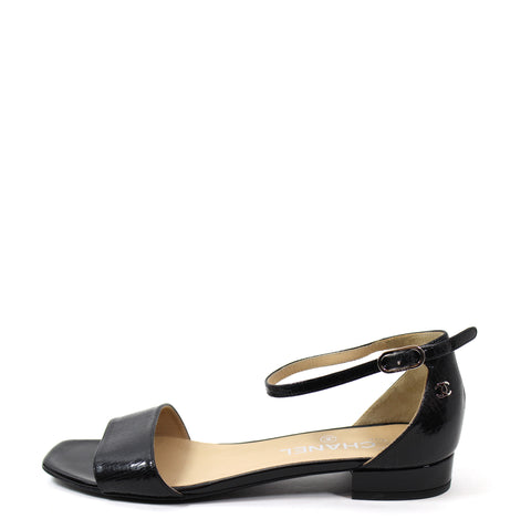 'Sold' Chanel Black Crackled Patent Leather Sandals - G30827 (Size 38)