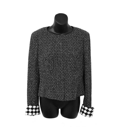 Chanel Black/White Tweed Jacket with Removable Cuffs