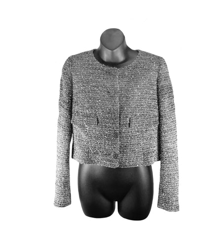 Chanel Black/White Tweed Sequined Jacket (Size 40)