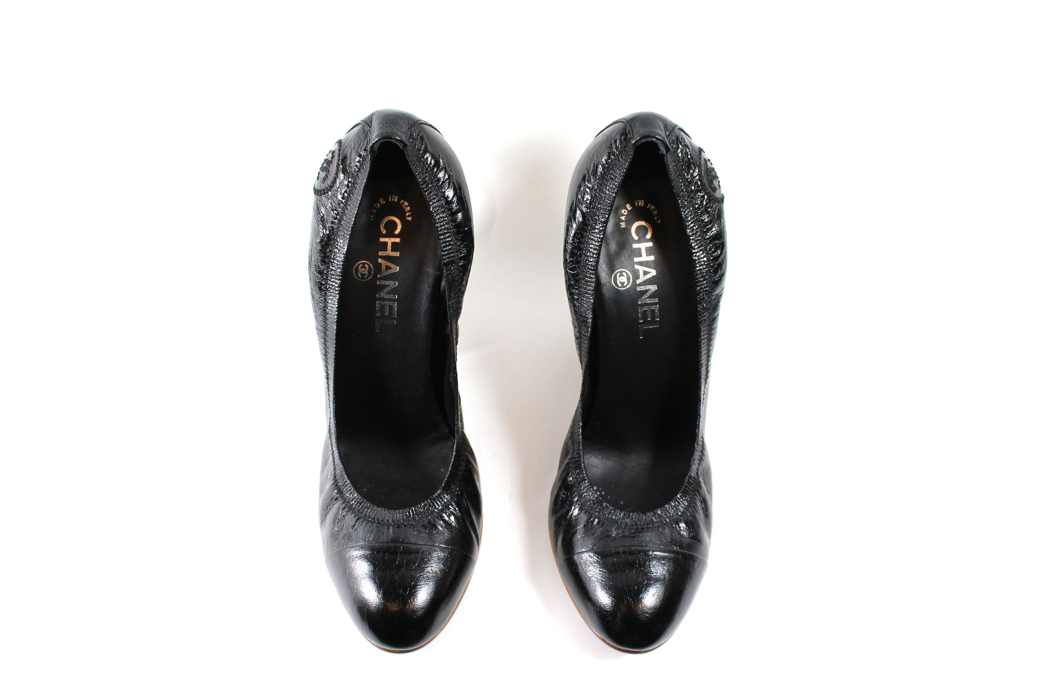 Chanel Black Crinkled Patent Leather Elastic Pumps - Size 41