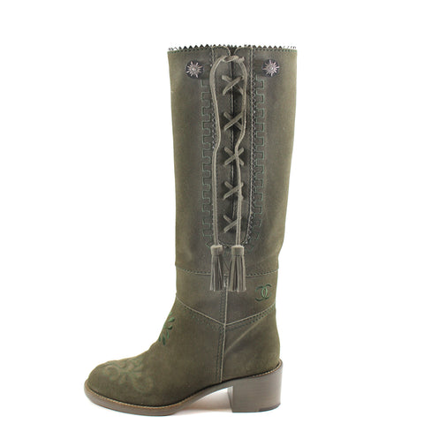 Chanel Embroidered Khaki Suede Cowboy Boots - G31100 (Size 38)