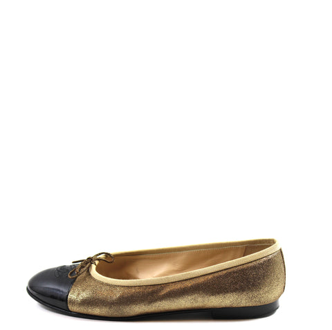 Chanel Shimmery Gold Leather Ballet Flats (Size 40)