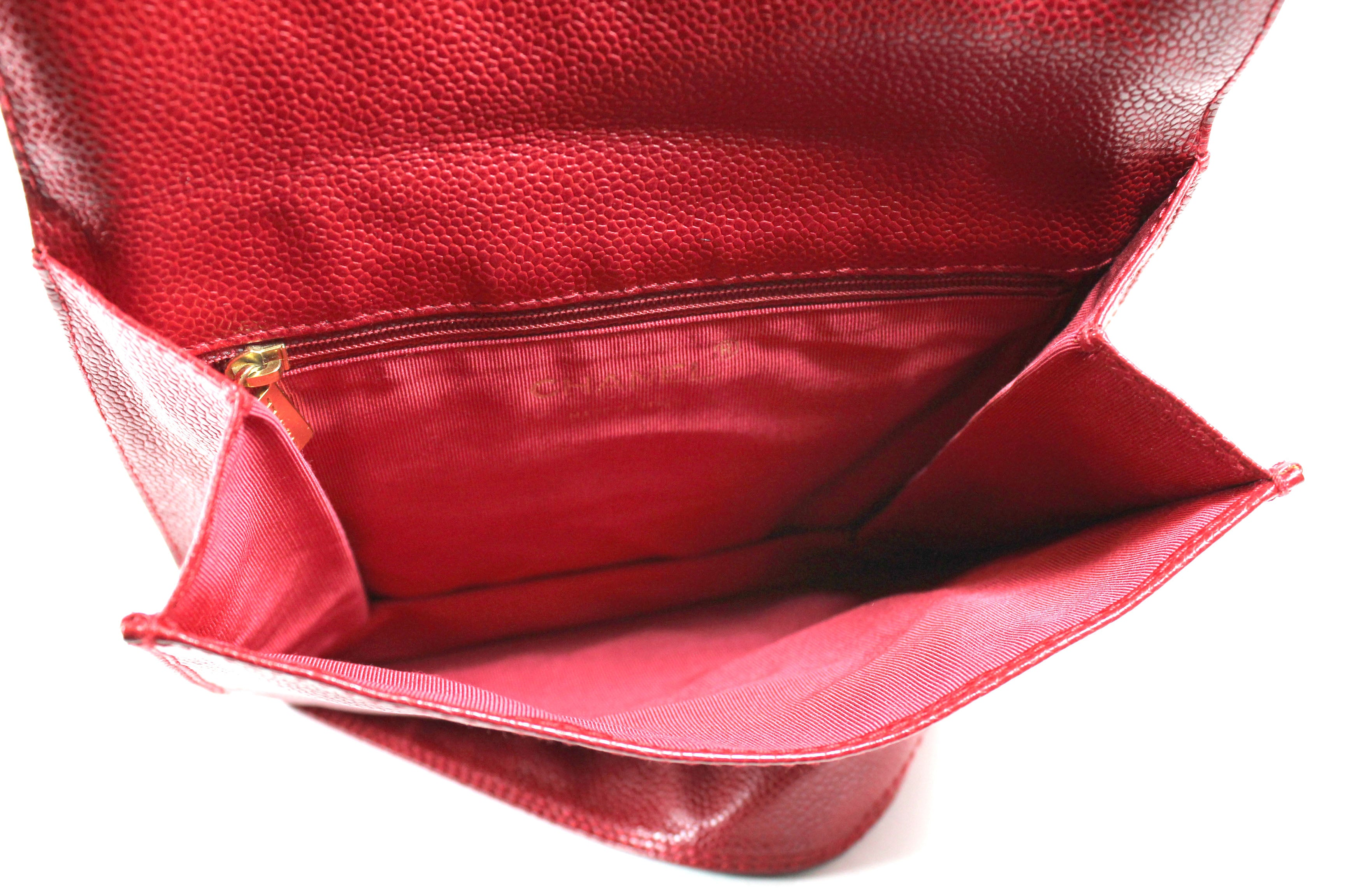 Chanel Vintage Cherry Red Caviar Leather Mini Messenger Bag