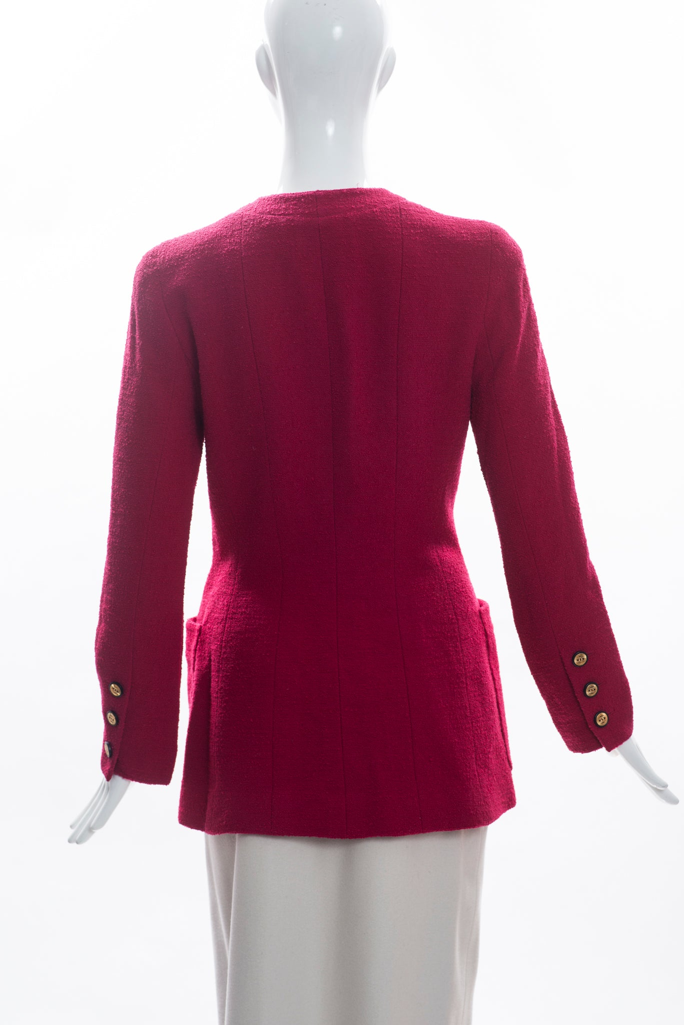'Sold' CHANEL Raspberry Magenta Pink Wool Boulce Black Gold CC Button Blazer Jacket S