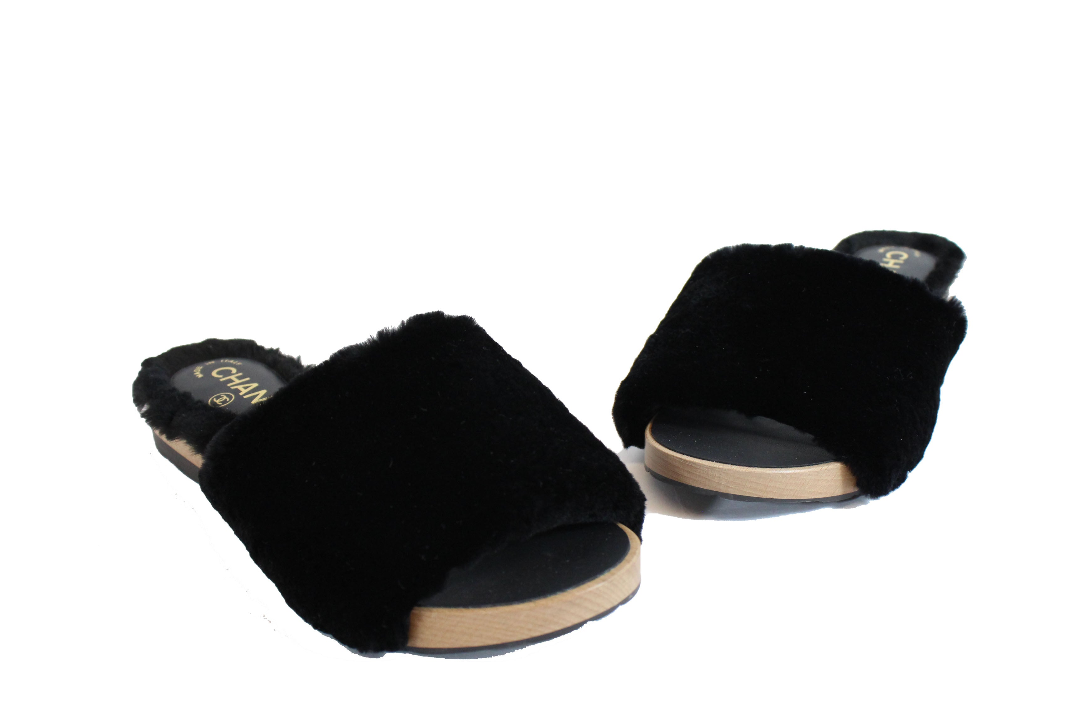 CHANEL Black Rabbit Fur Slides