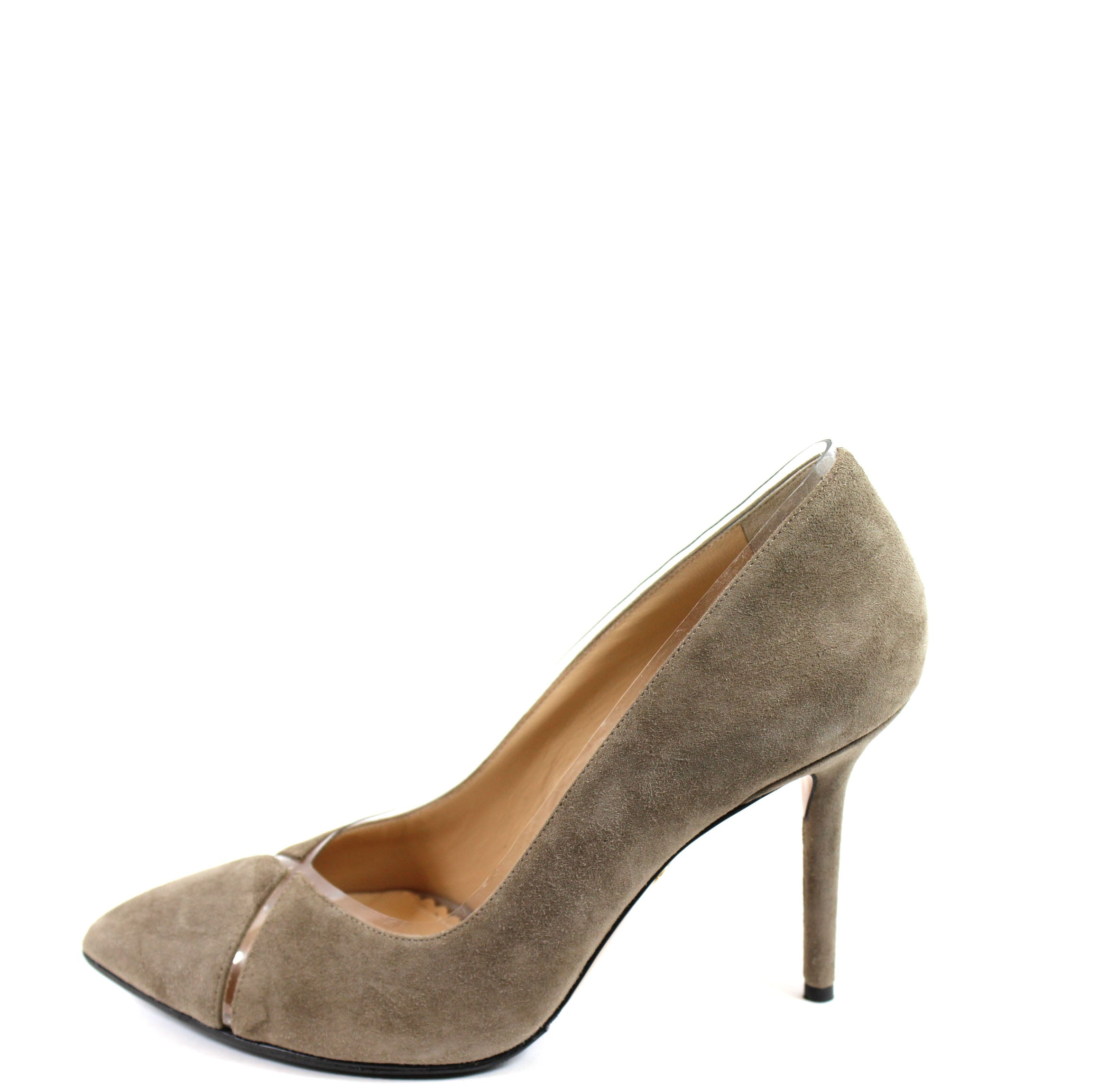 Charlotte Olympia 'Natalie' Taupe Suede/PVC Pumps (Size 37.5)