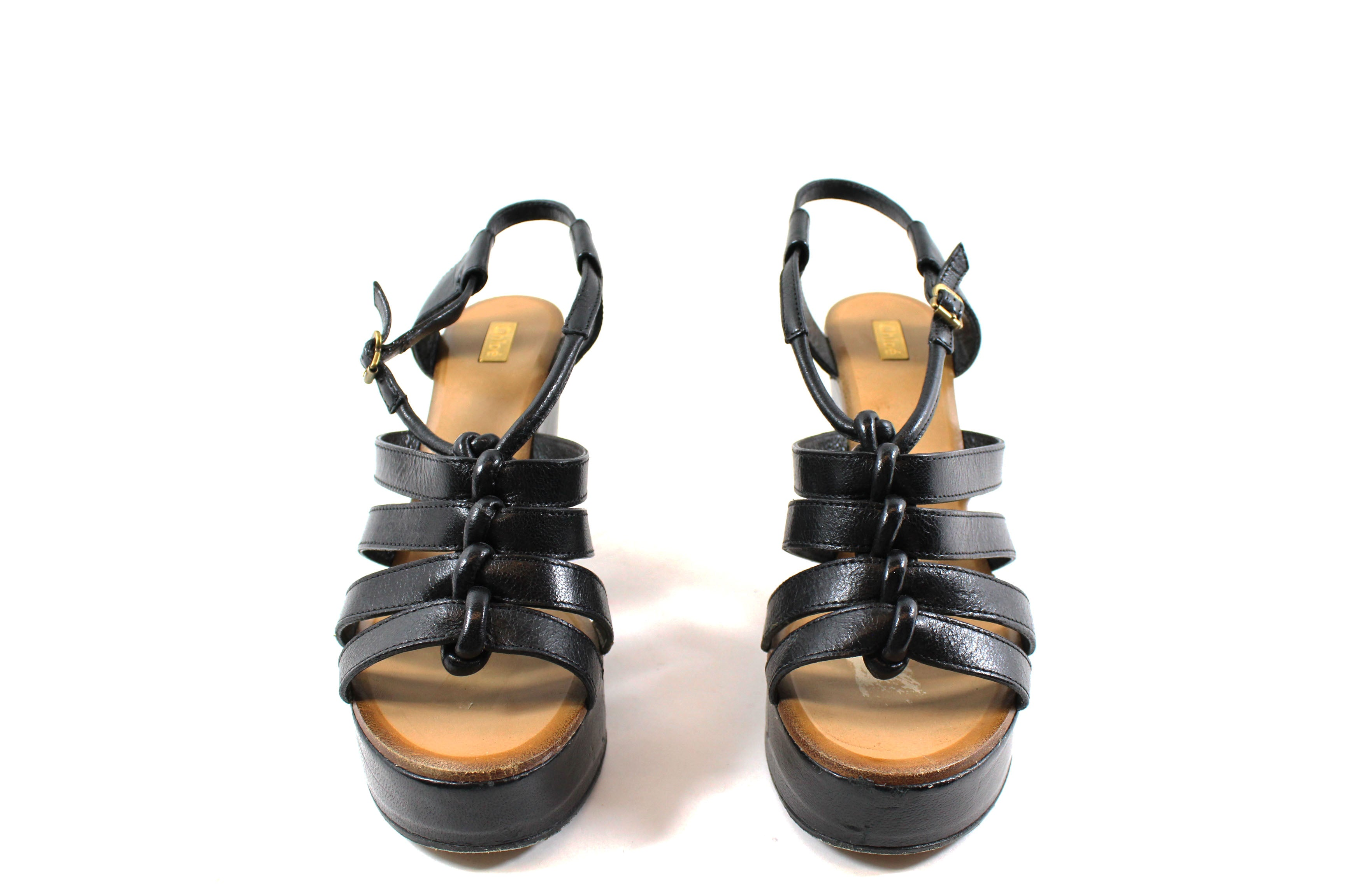 Chloé Black Leather Strappy Platform Wedge Sandals (Size 38.5)