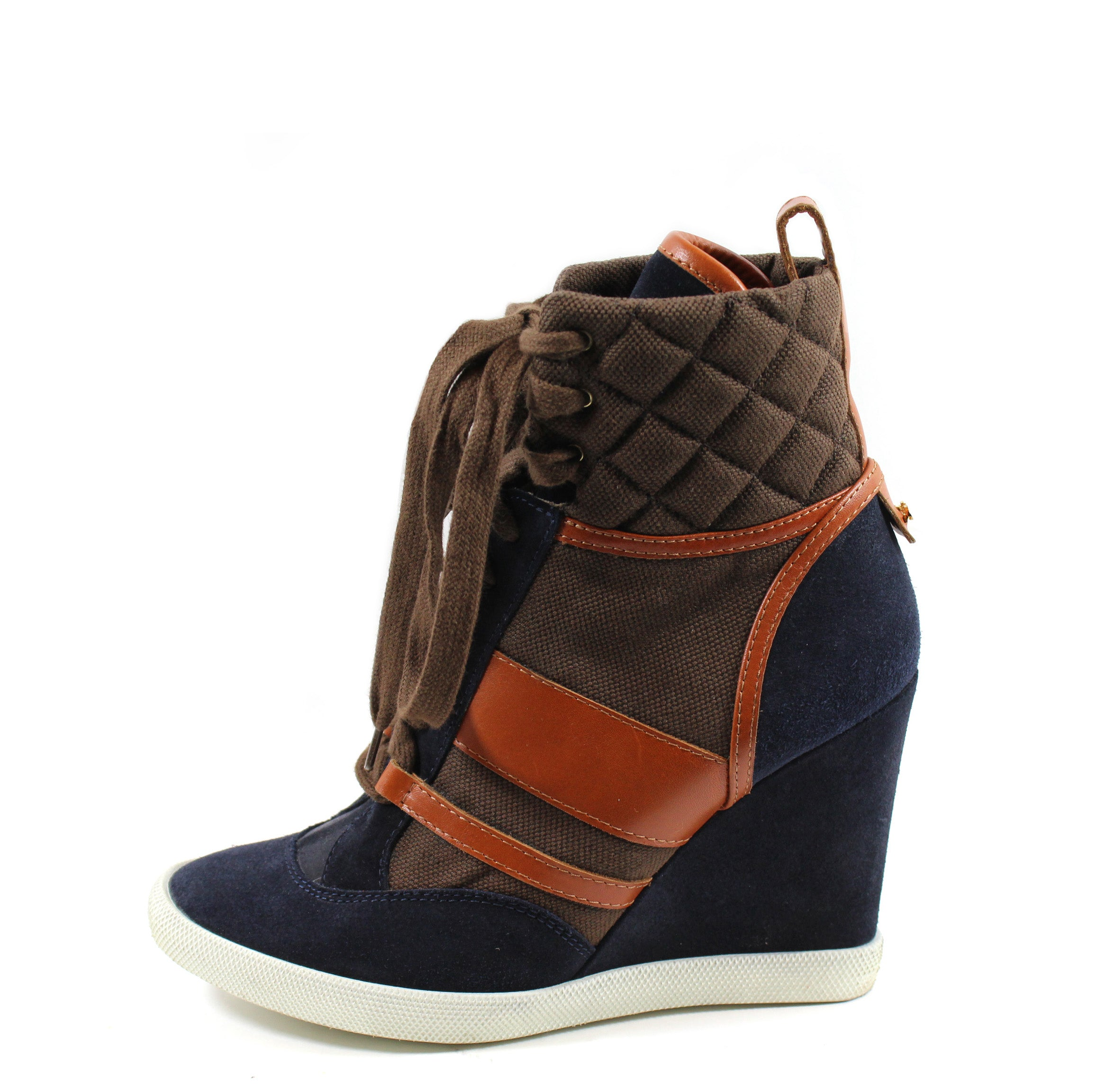 7a07af3ebe6 Chloé  Kasia  Navy Brown Wedge Sneakers (Size 39) – Encore Consignment