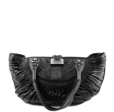 'Sold' Christian Dior 'Plisse' Black Leather Pleated Handbag