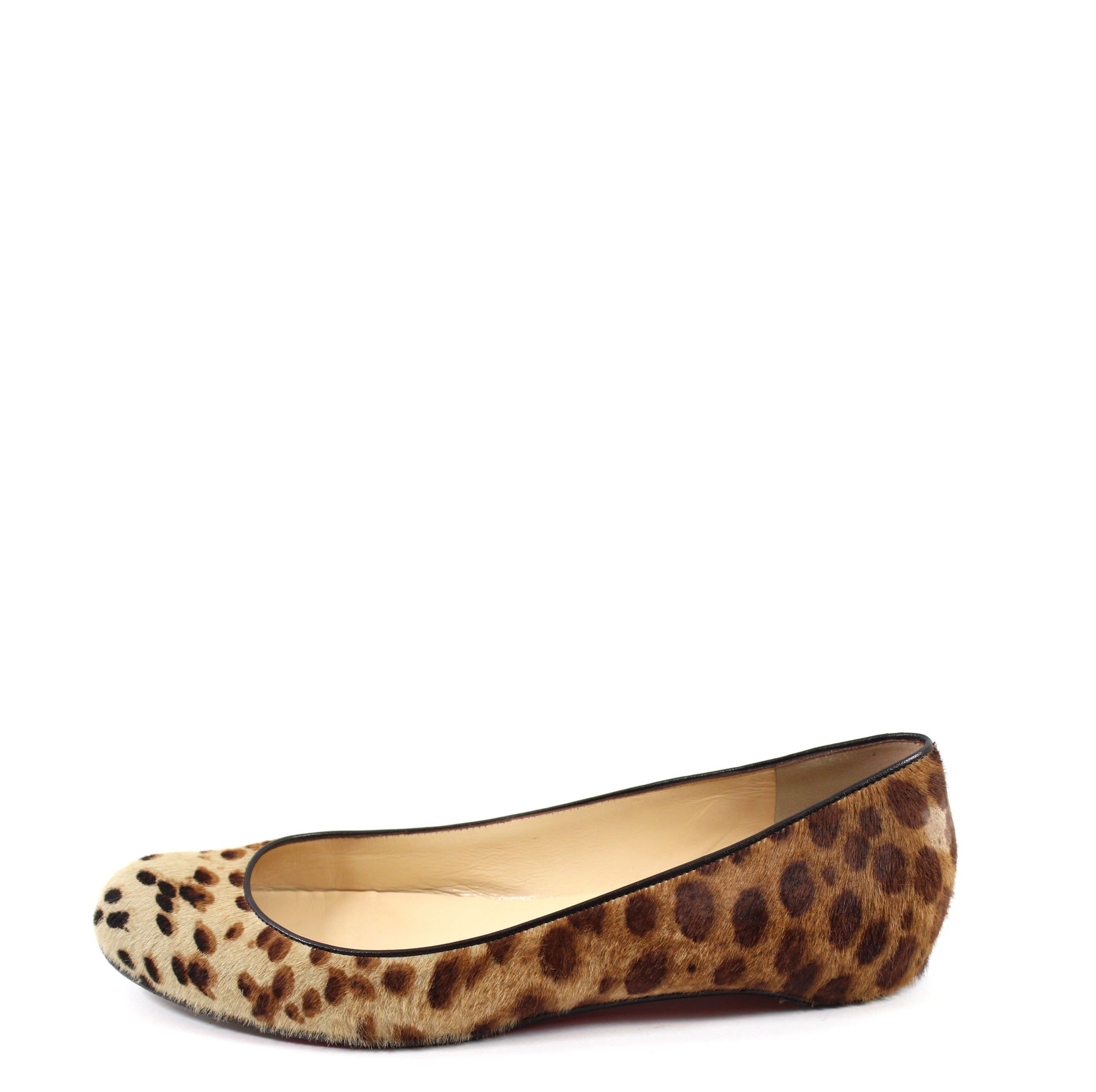 Christian Louboutin Leopard-patterned Calfhair Flats (Size 40.5)