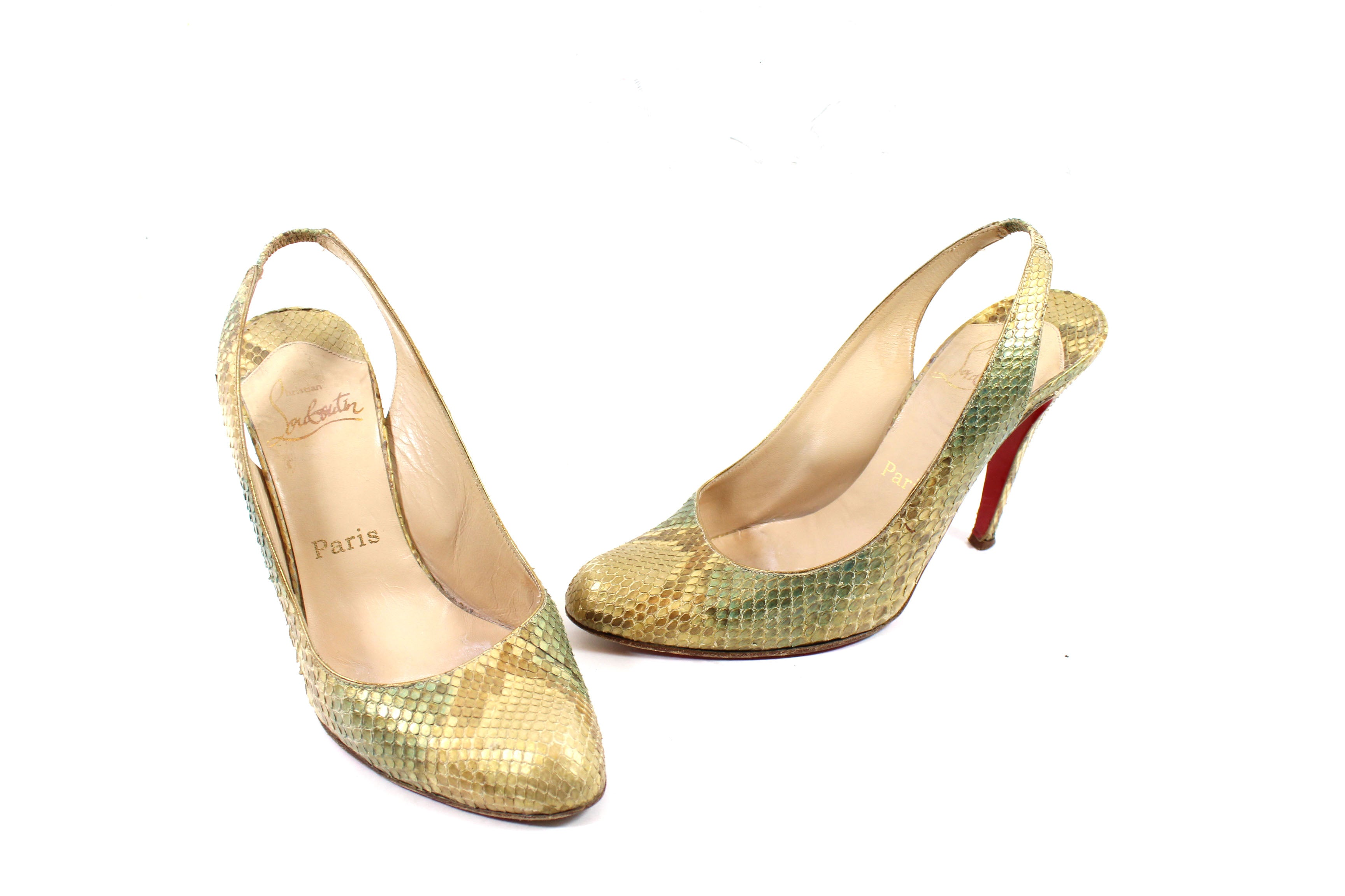 Christian Louboutin Gold-tone/Teal Snakeskin Pumps (Size 37.5)