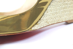 Christian Louboutin Gold Patent Leather Espadrille Wedges (Size 37)