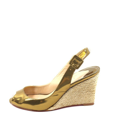 'Sold' Christian Louboutin Gold Patent Leather Espadrille Wedges (Size 37)