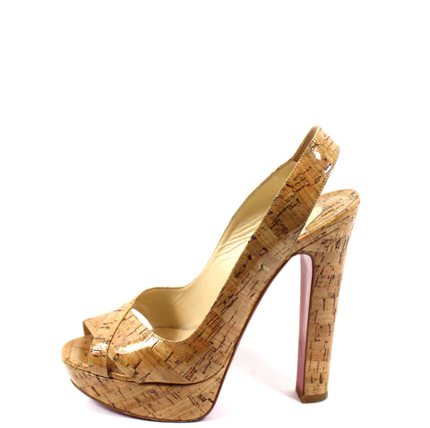 'Sold' Christian Louboutin 'Marple Town 140' Glazed Cork Platform Sandals (Size 37.5)