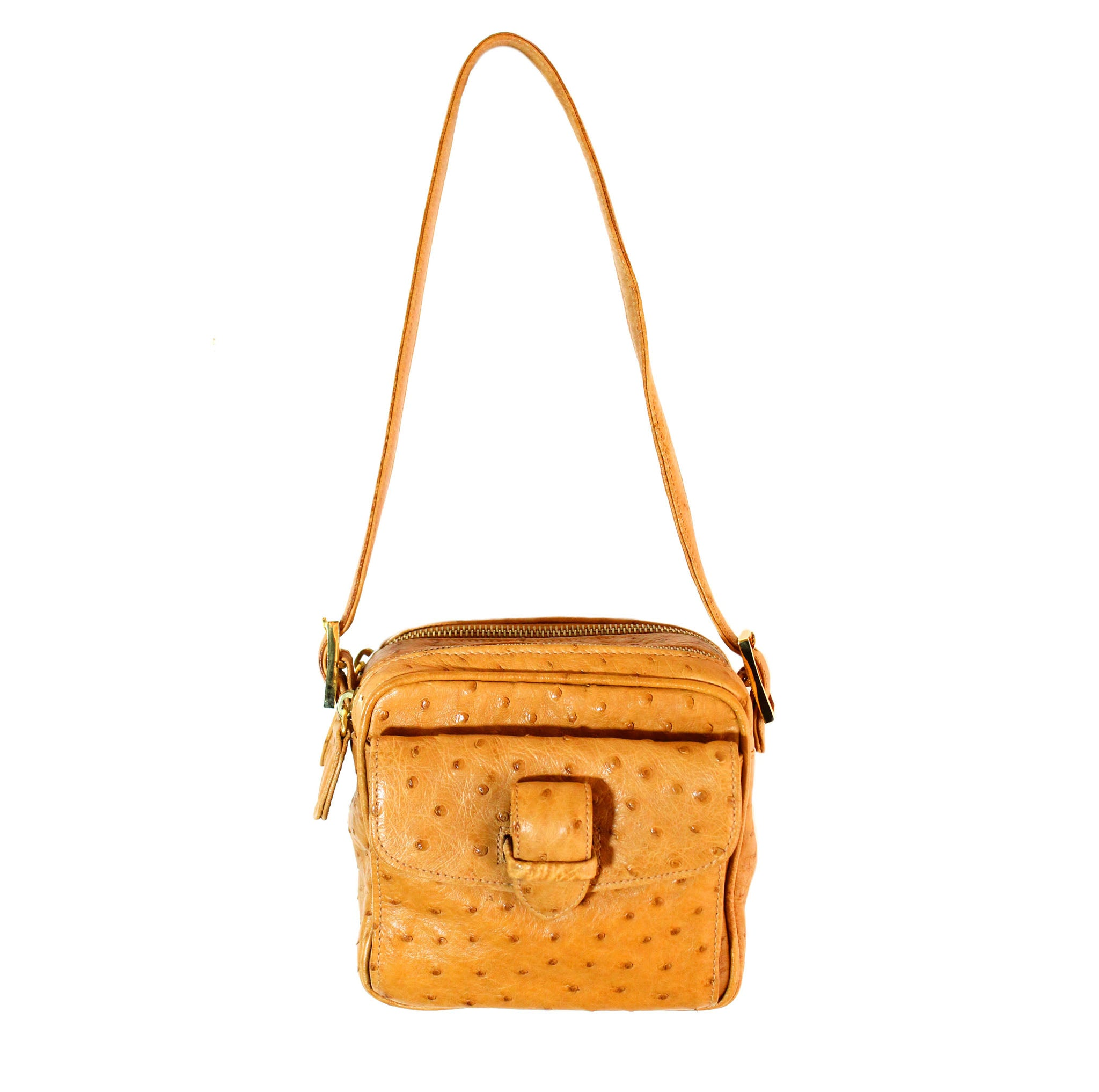 dc8ad55ca81 Colombo Vintage Tan Ostrich Multi-Pocketed Mini Bag – Encore Consignment