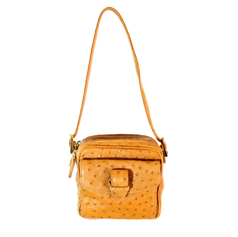 Colombo Vintage Tan Ostrich Multi-Pocketed Mini Bag