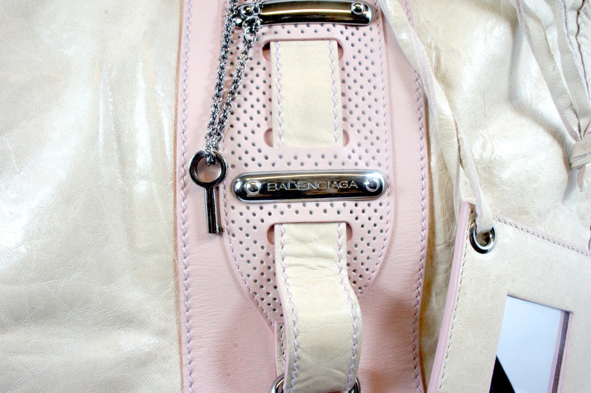 """PU""Balenciaga Cream and Pink Leather Tote - Encore Consignment - 3"