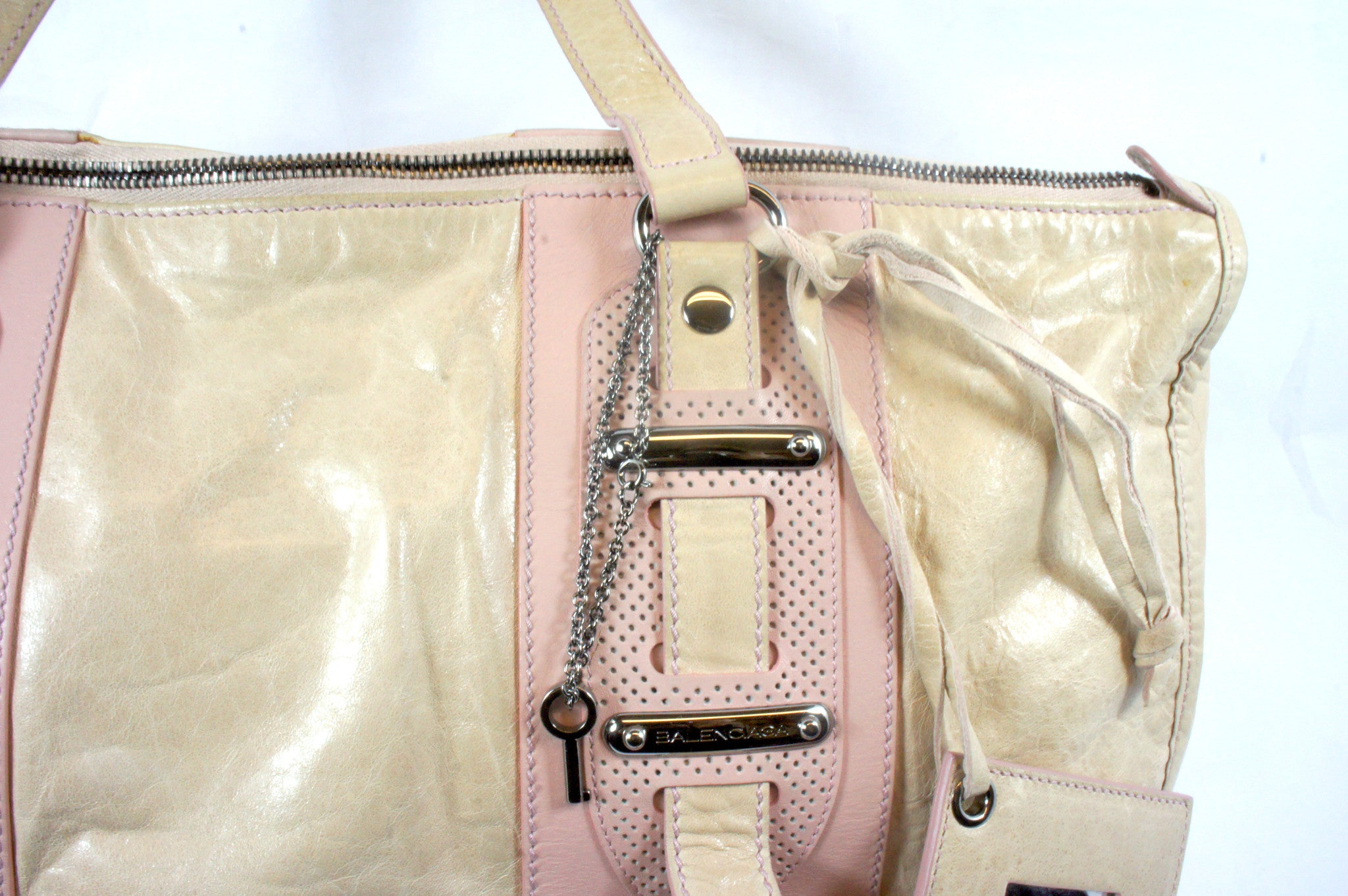 """PU""Balenciaga Cream and Pink Leather Tote - Encore Consignment - 4"