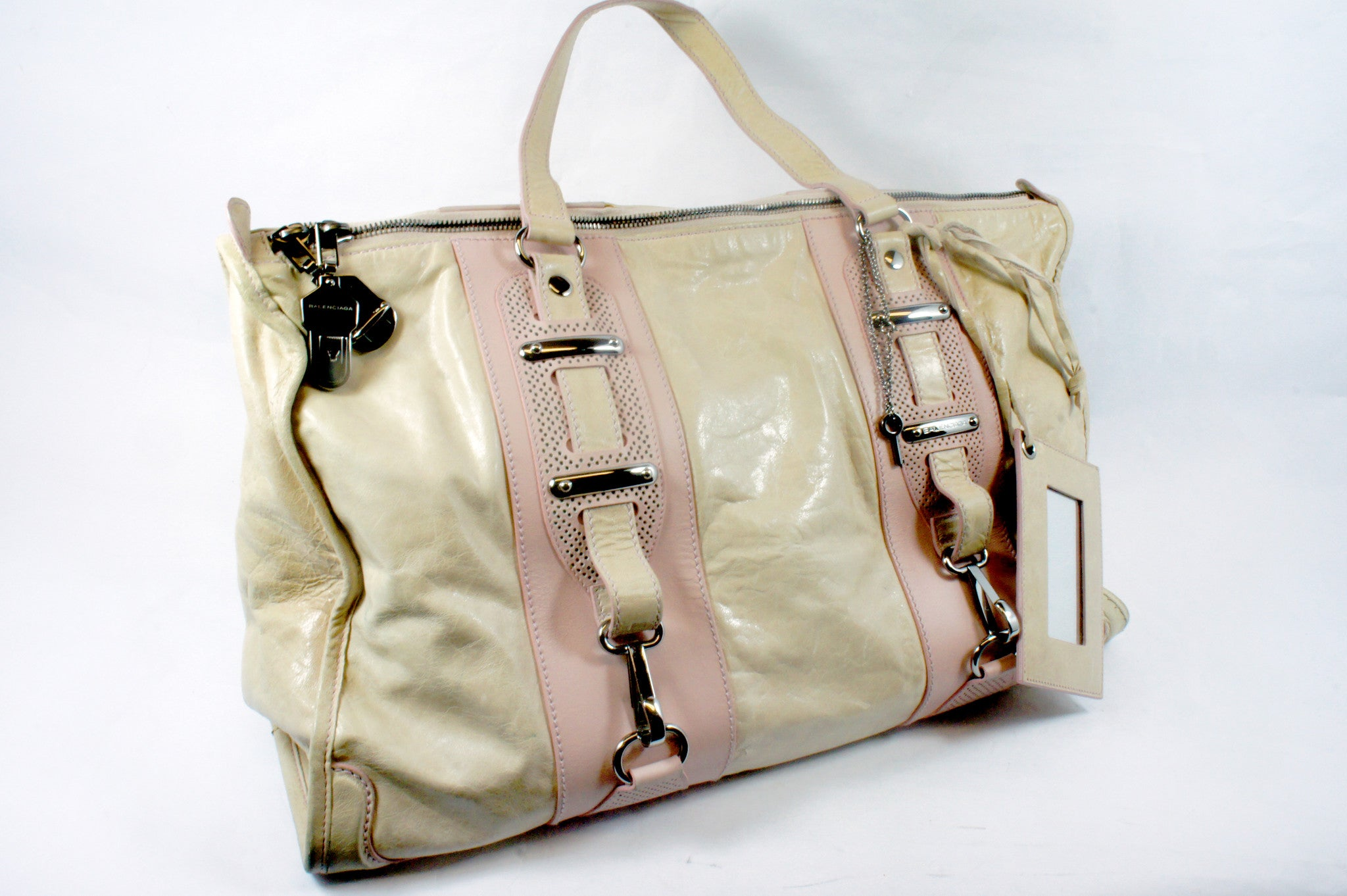 """PU""Balenciaga Cream and Pink Leather Tote - Encore Consignment - 6"