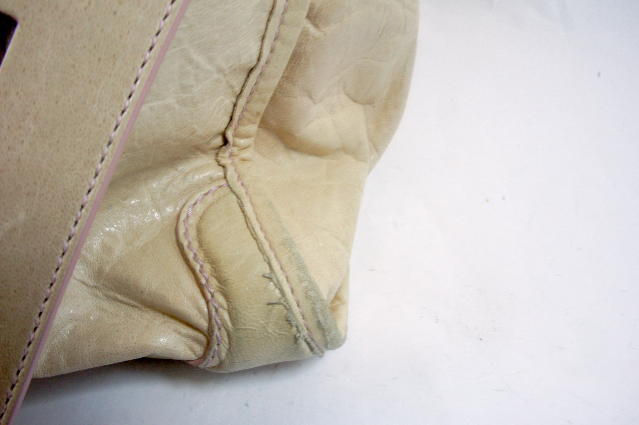 """PU""Balenciaga Cream and Pink Leather Tote - Encore Consignment - 8"
