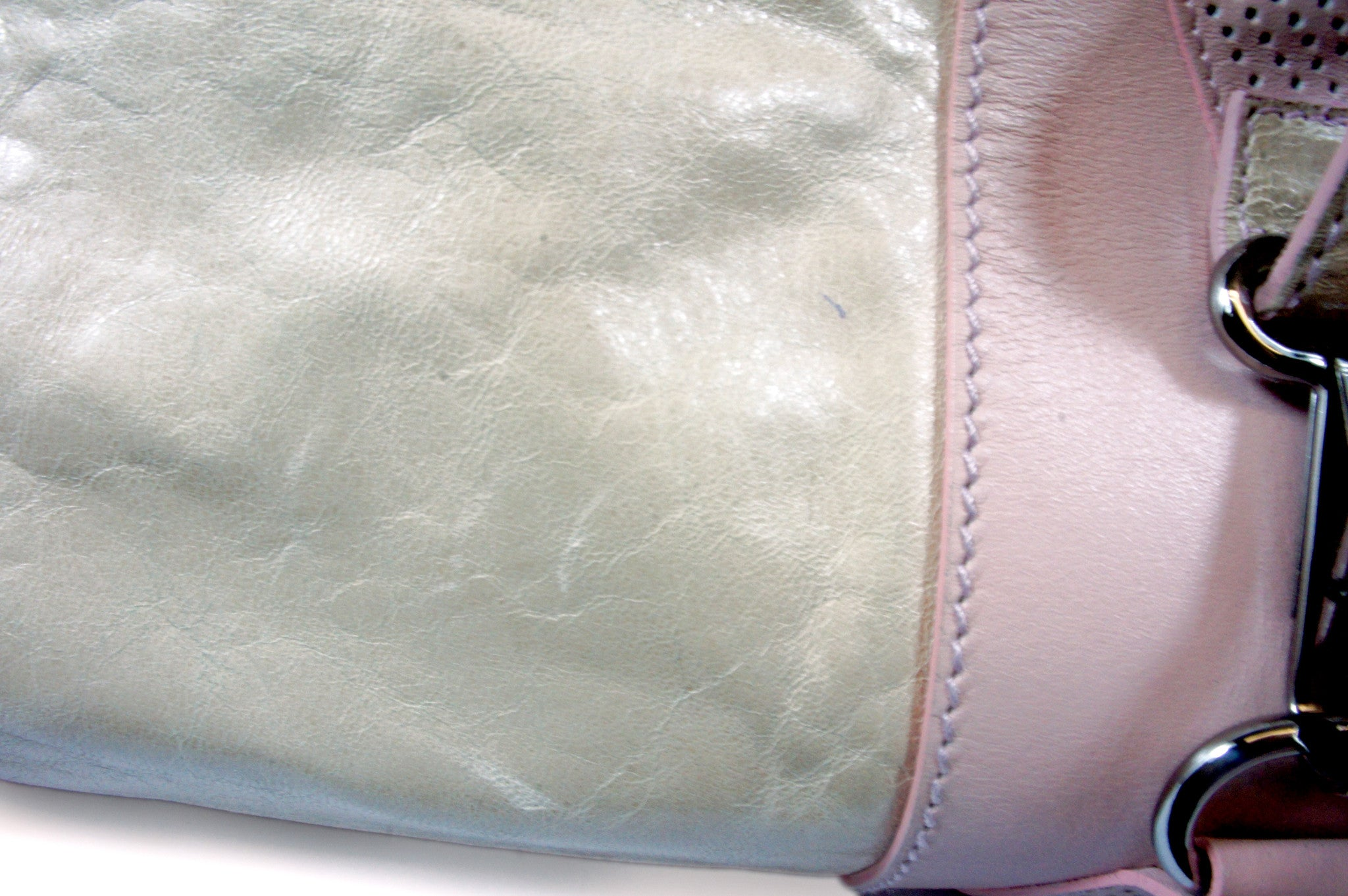 """PU""Balenciaga Cream and Pink Leather Tote - Encore Consignment - 2"