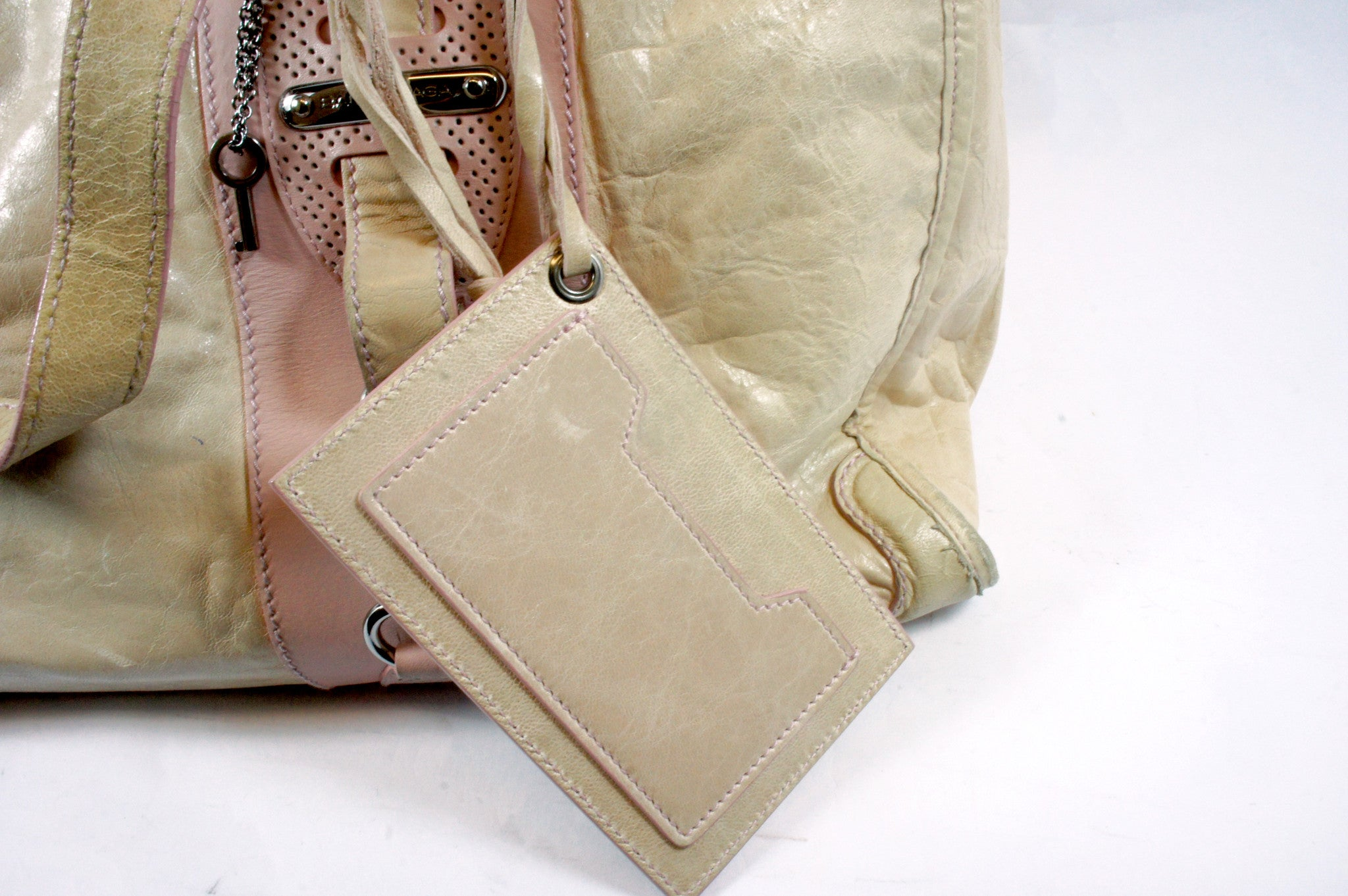 """PU""Balenciaga Cream and Pink Leather Tote - Encore Consignment - 9"