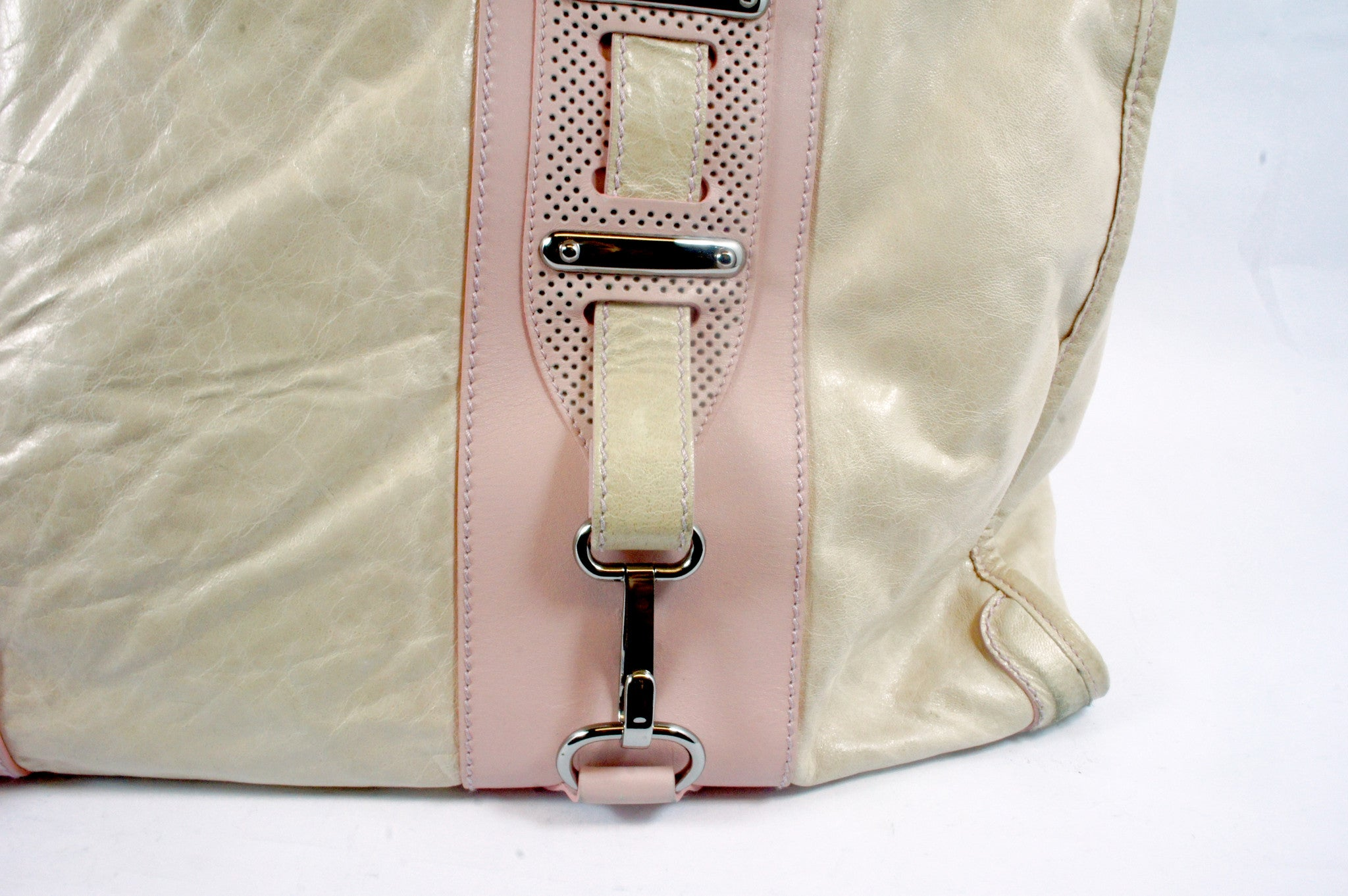 """PU""Balenciaga Cream and Pink Leather Tote - Encore Consignment - 11"