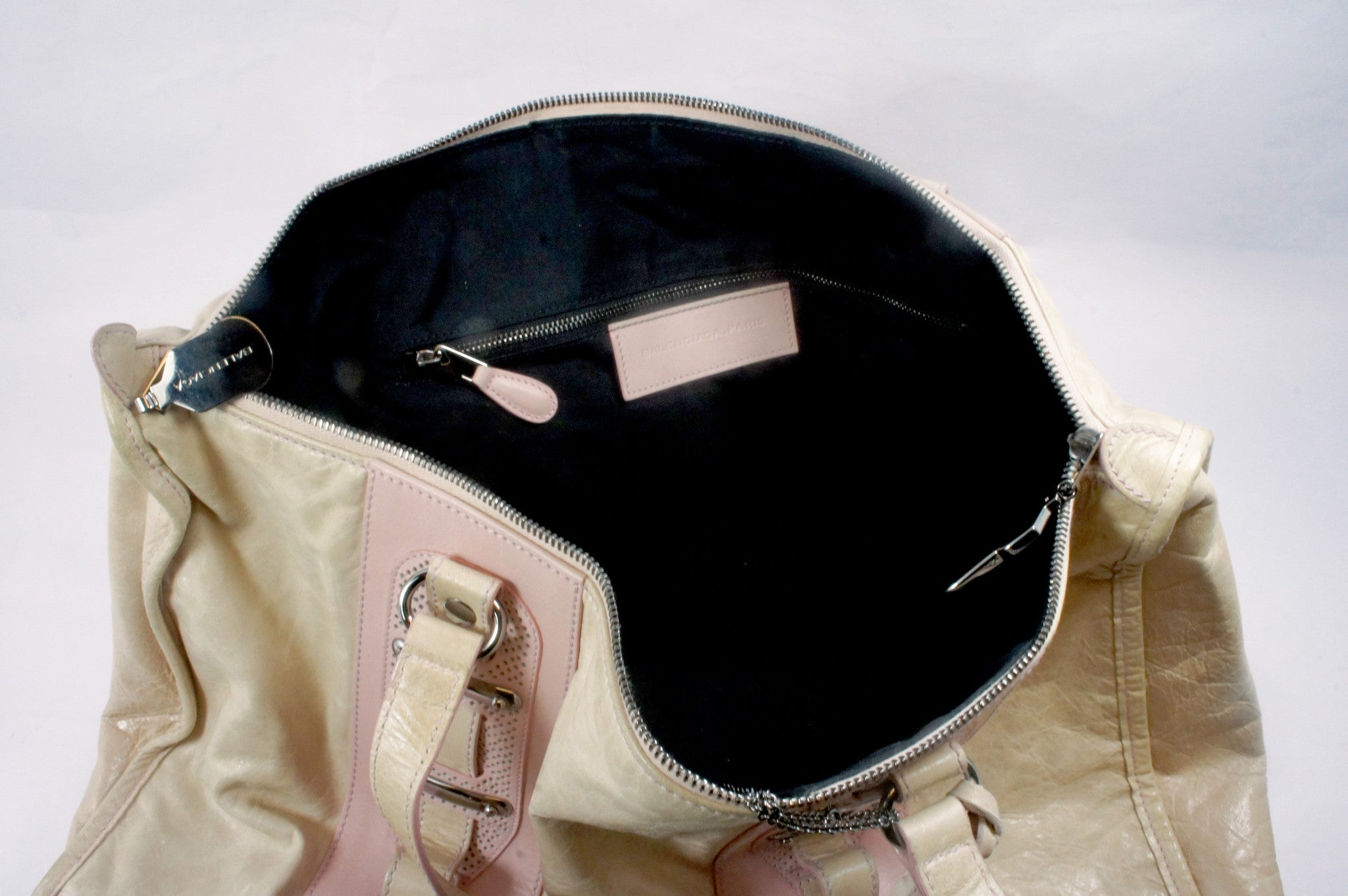"""PU""Balenciaga Cream and Pink Leather Tote - Encore Consignment - 12"
