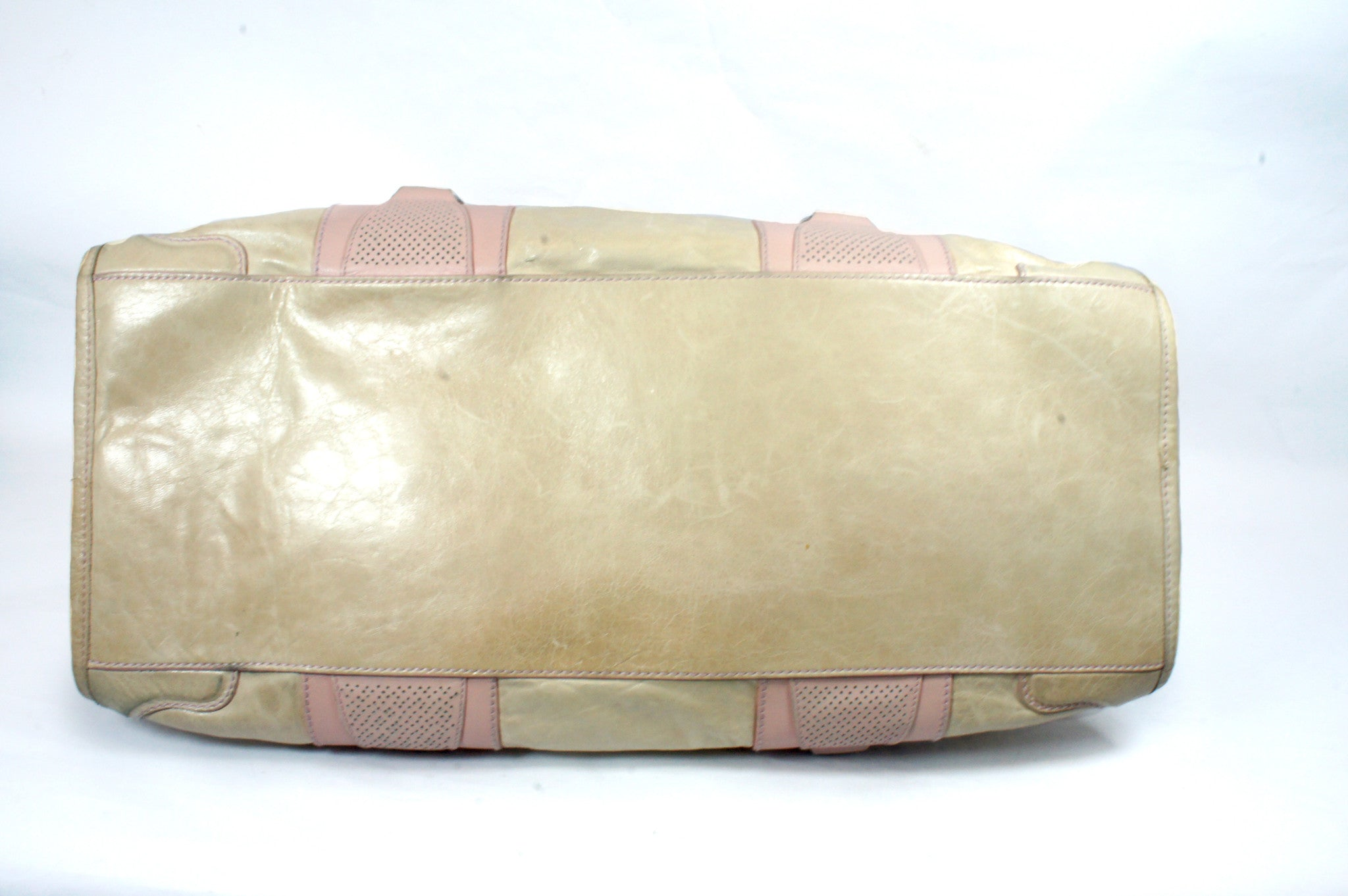 """PU""Balenciaga Cream and Pink Leather Tote - Encore Consignment - 15"