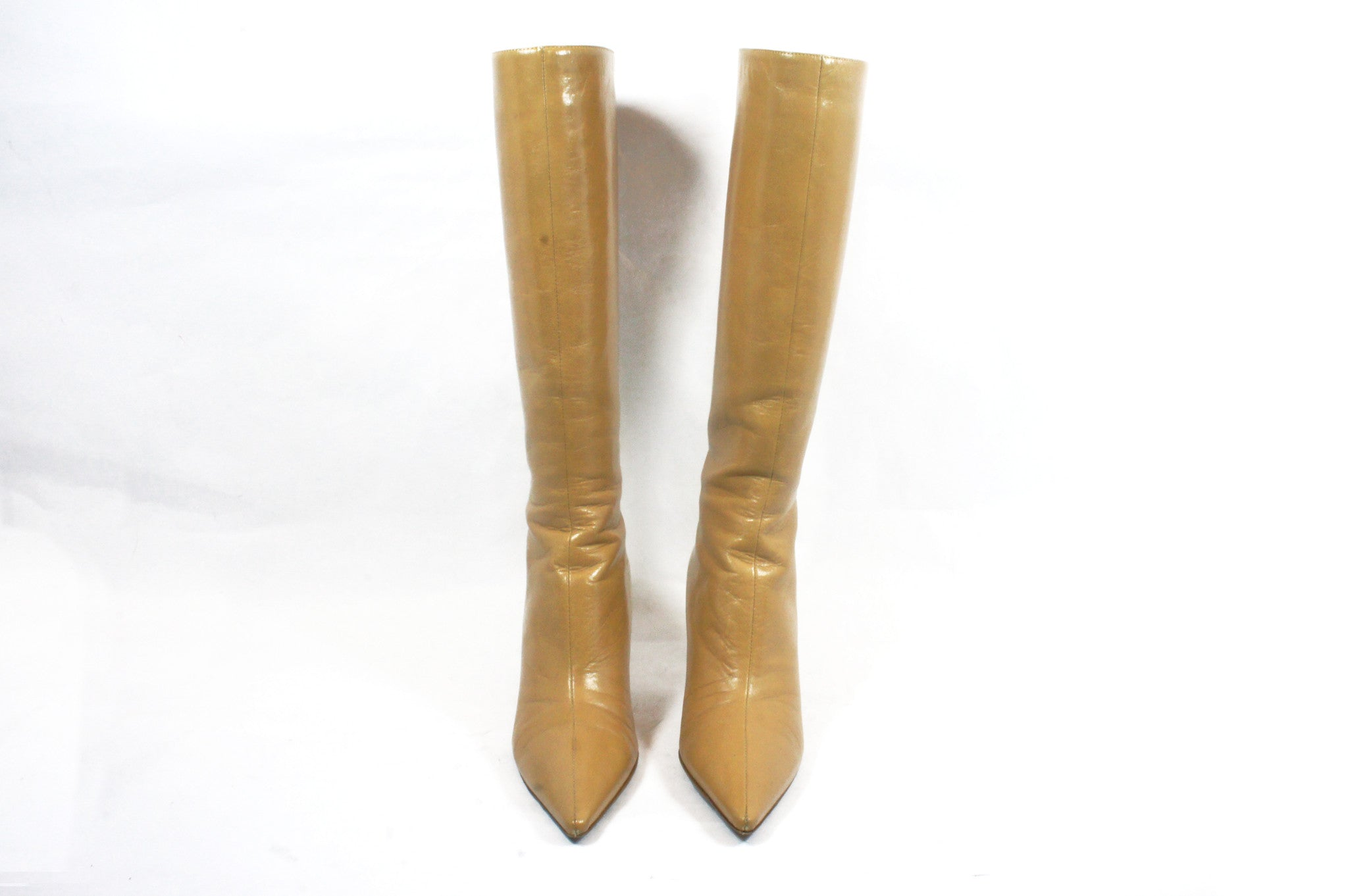 Jimmy Choo Beige Knee High Boots (Size 36.5) - Encore Consignment - 3