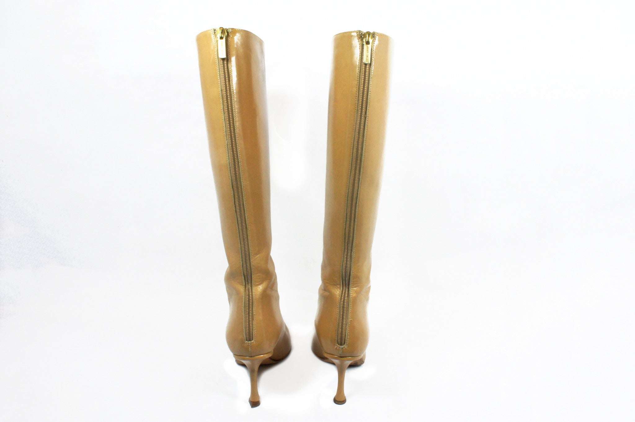 Jimmy Choo Beige Knee High Boots (Size 36.5) - Encore Consignment - 4