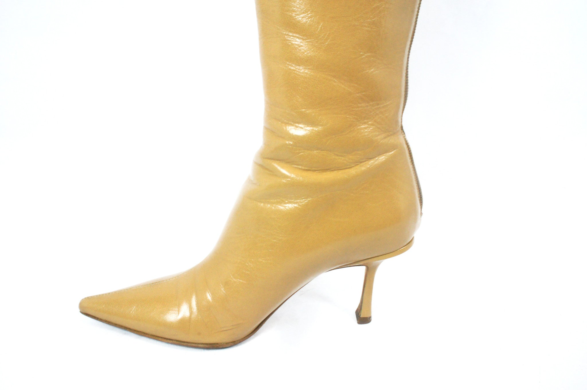 Jimmy Choo Beige Knee High Boots (Size 36.5) - Encore Consignment - 5