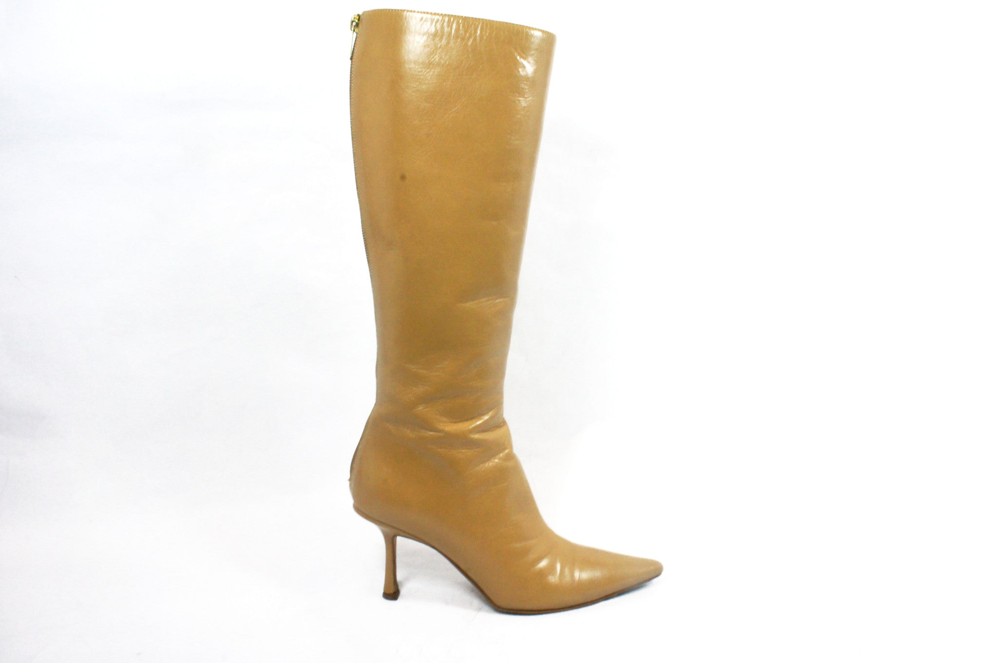 Jimmy Choo Beige Knee High Boots (Size 36.5) - Encore Consignment - 8