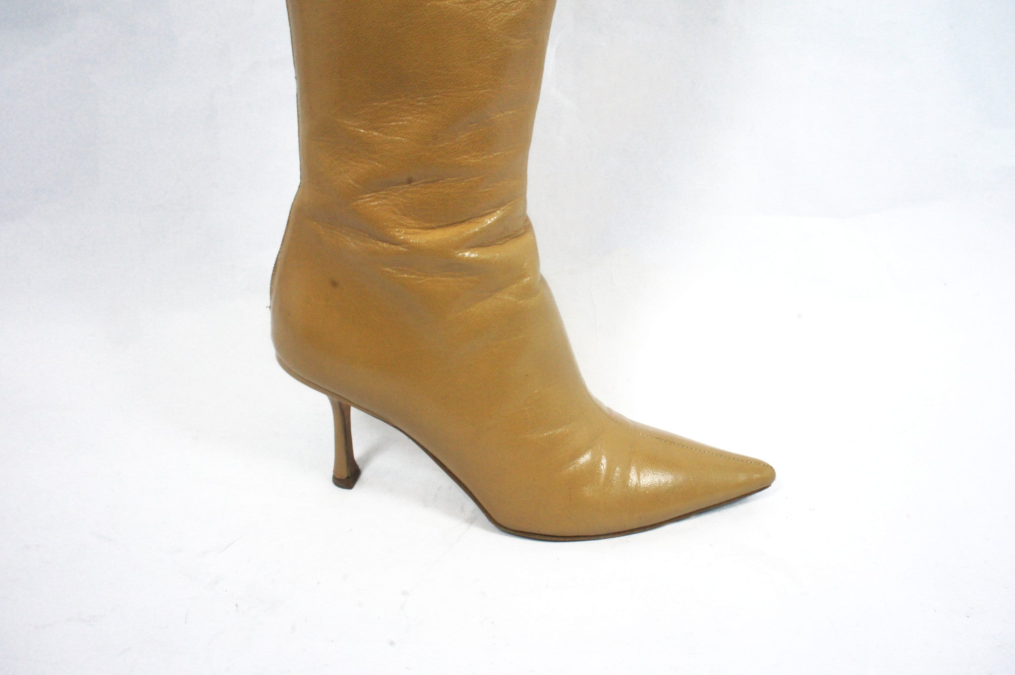 Jimmy Choo Beige Knee High Boots (Size 36.5) - Encore Consignment - 9
