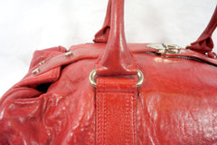 """PU""Balenciaga Red Leather Duffle Bag - Encore Consignment - 5"