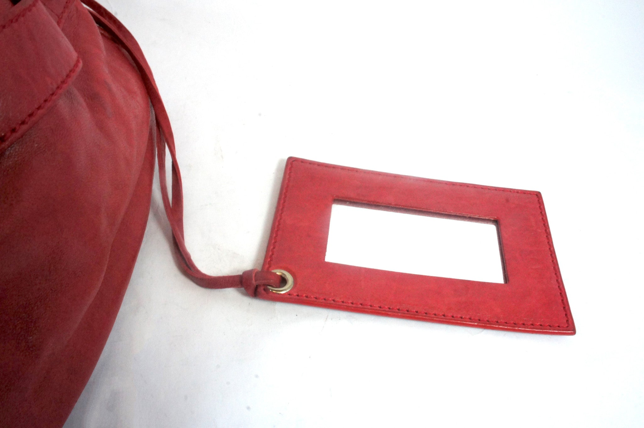 """PU""Balenciaga Red Leather Duffle Bag - Encore Consignment - 7"