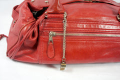 """PU""Balenciaga Red Leather Duffle Bag - Encore Consignment - 3"