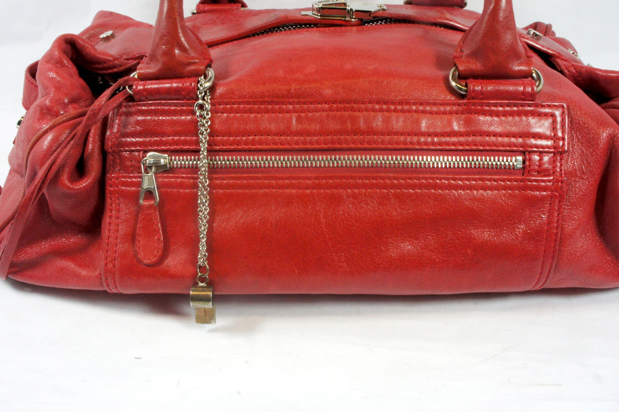"""PU""Balenciaga Red Leather Duffle Bag - Encore Consignment - 2"