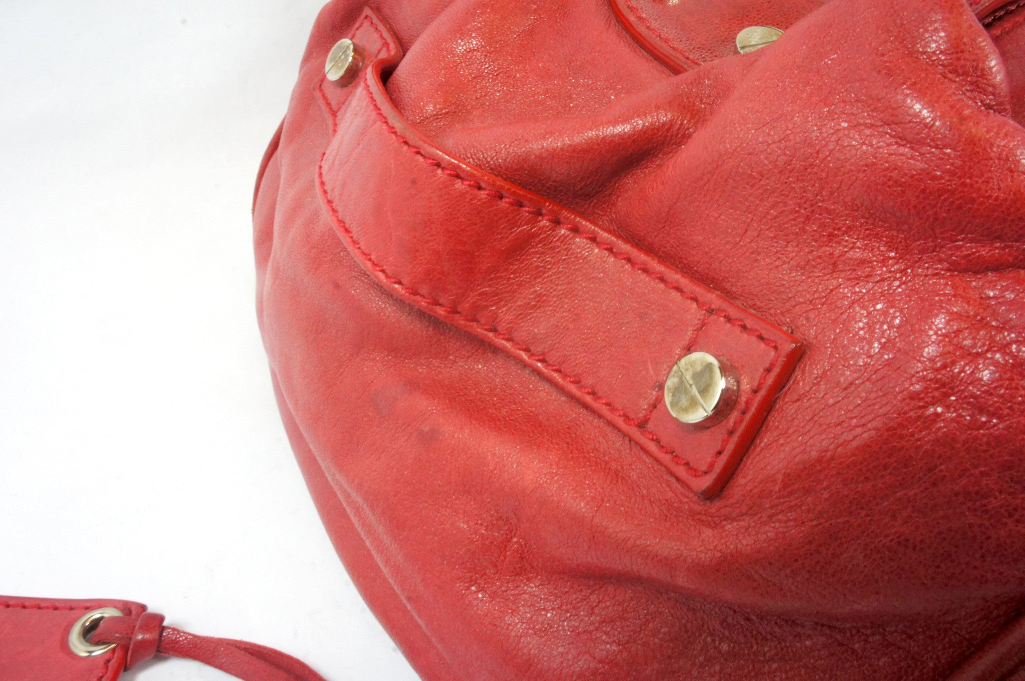 """PU""Balenciaga Red Leather Duffle Bag - Encore Consignment - 6"