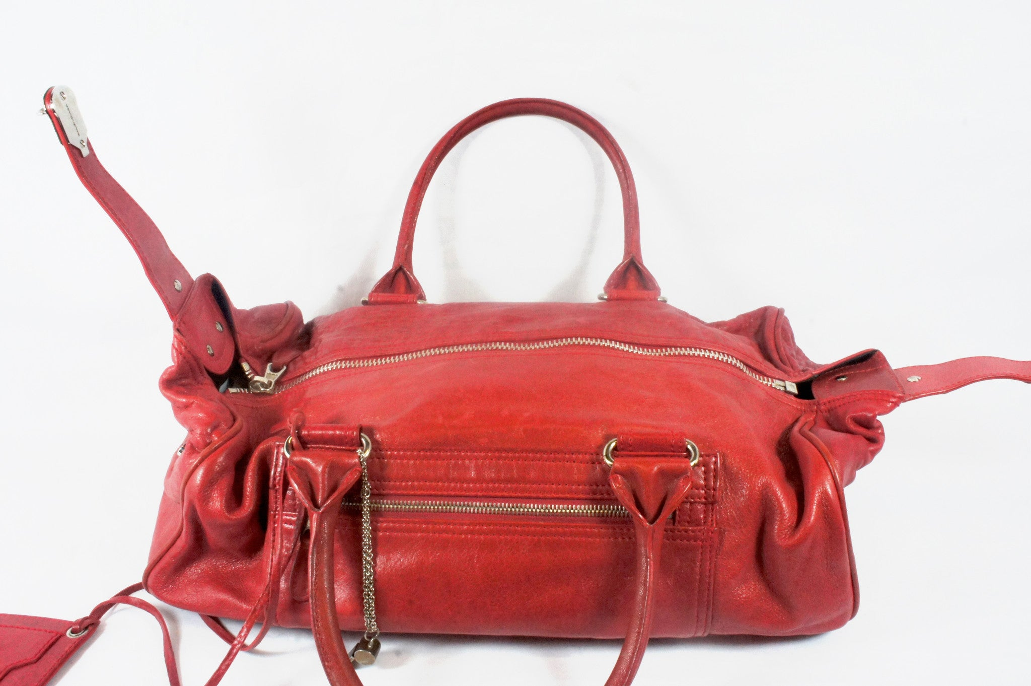 """PU""Balenciaga Red Leather Duffle Bag - Encore Consignment - 9"