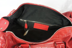 """PU""Balenciaga Red Leather Duffle Bag - Encore Consignment - 11"