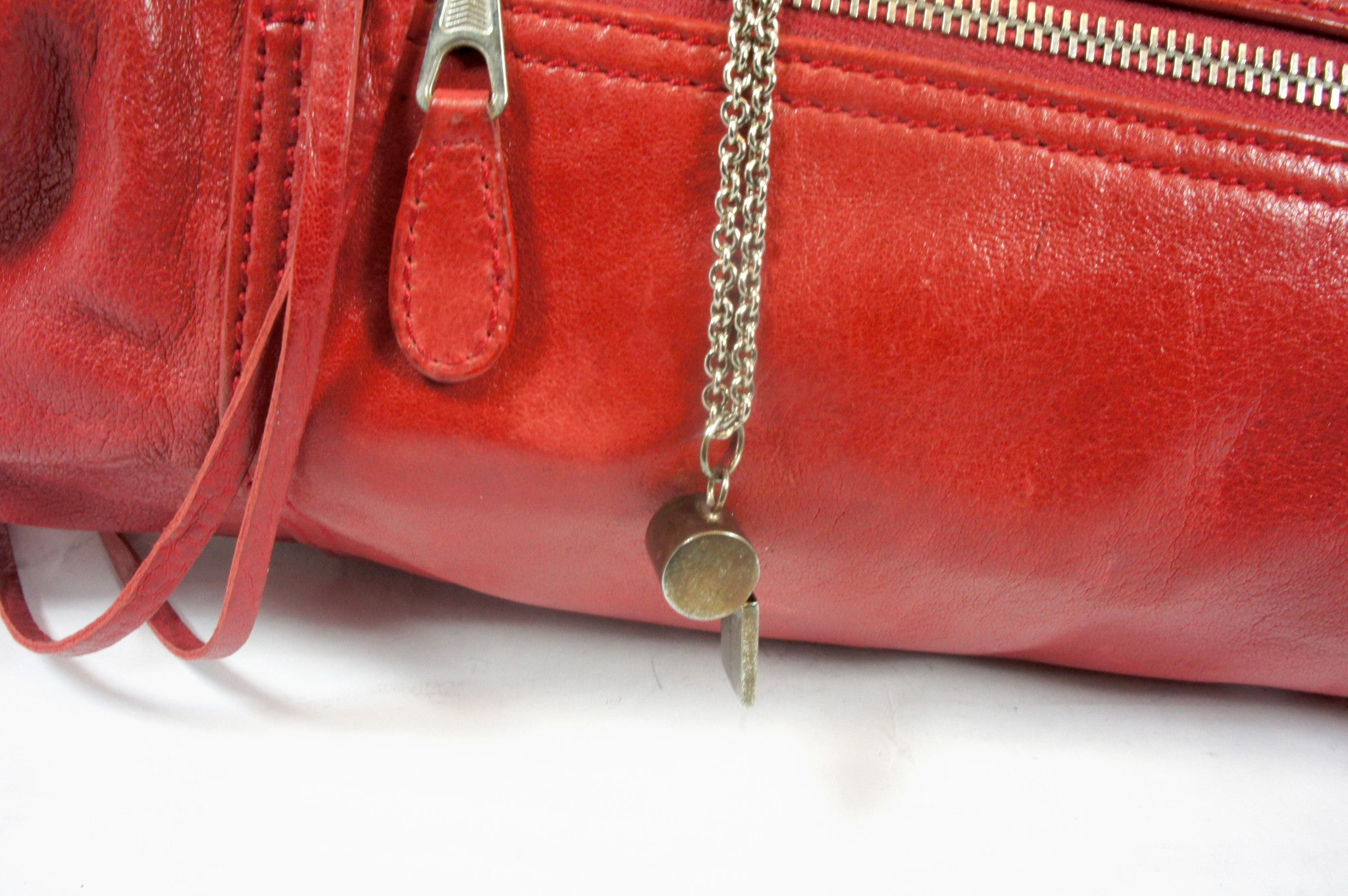 """PU""Balenciaga Red Leather Duffle Bag - Encore Consignment - 4"