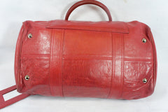 """PU""Balenciaga Red Leather Duffle Bag - Encore Consignment - 12"