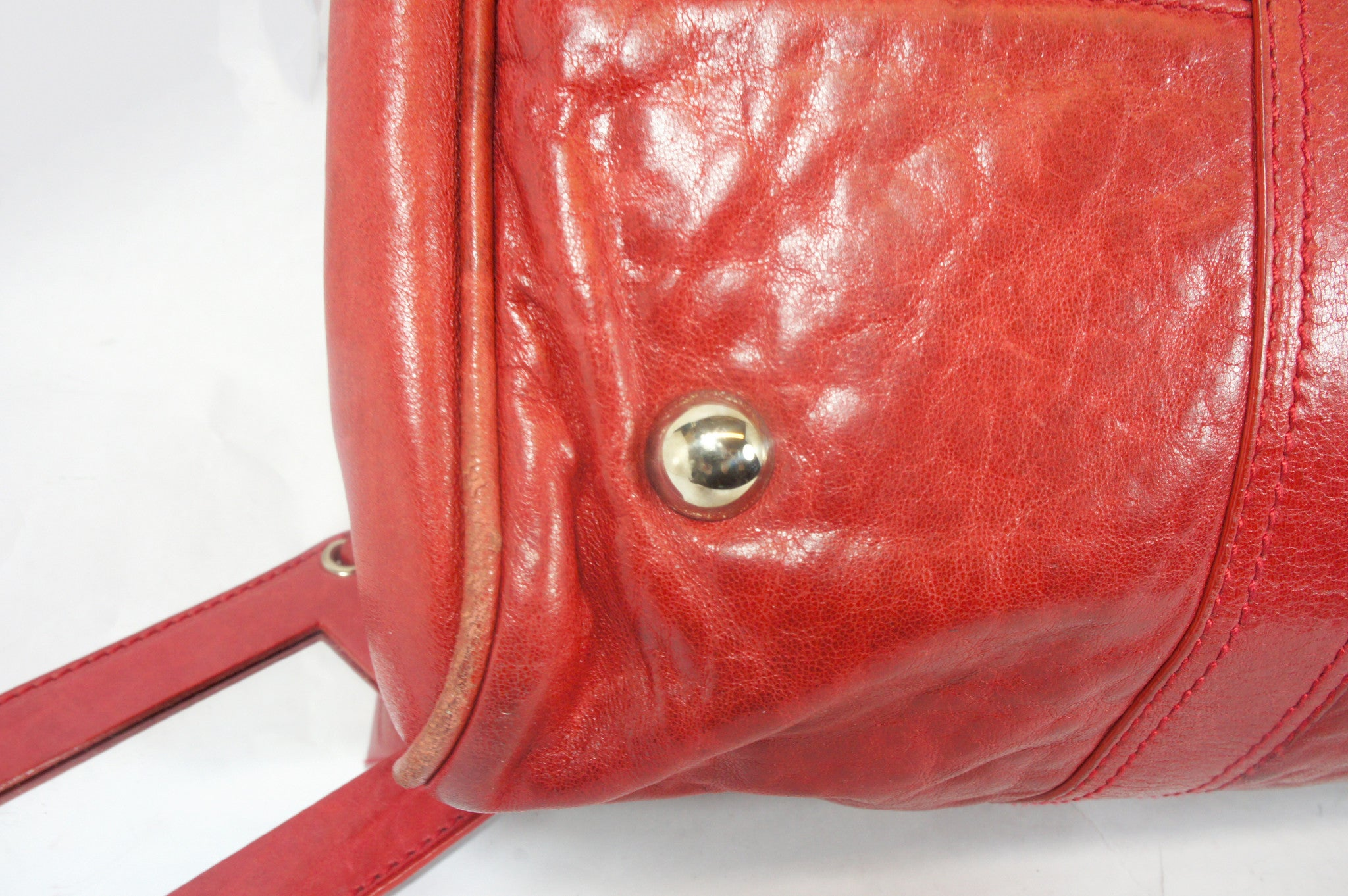 """PU""Balenciaga Red Leather Duffle Bag - Encore Consignment - 13"