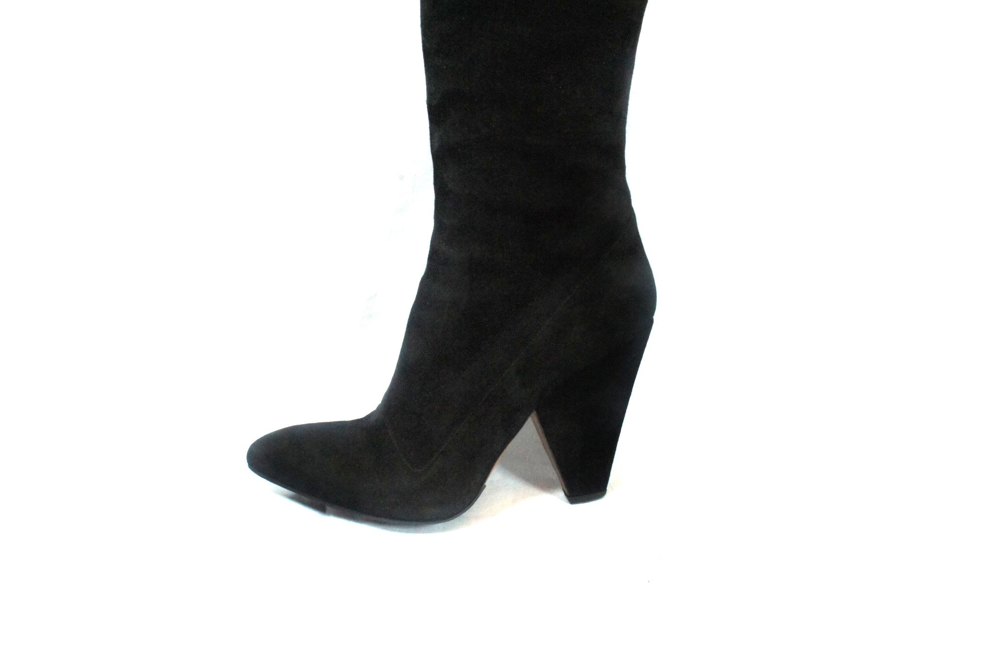 Alaia Black Suede Knee High Boots (Size 40) - Encore Consignment - 4