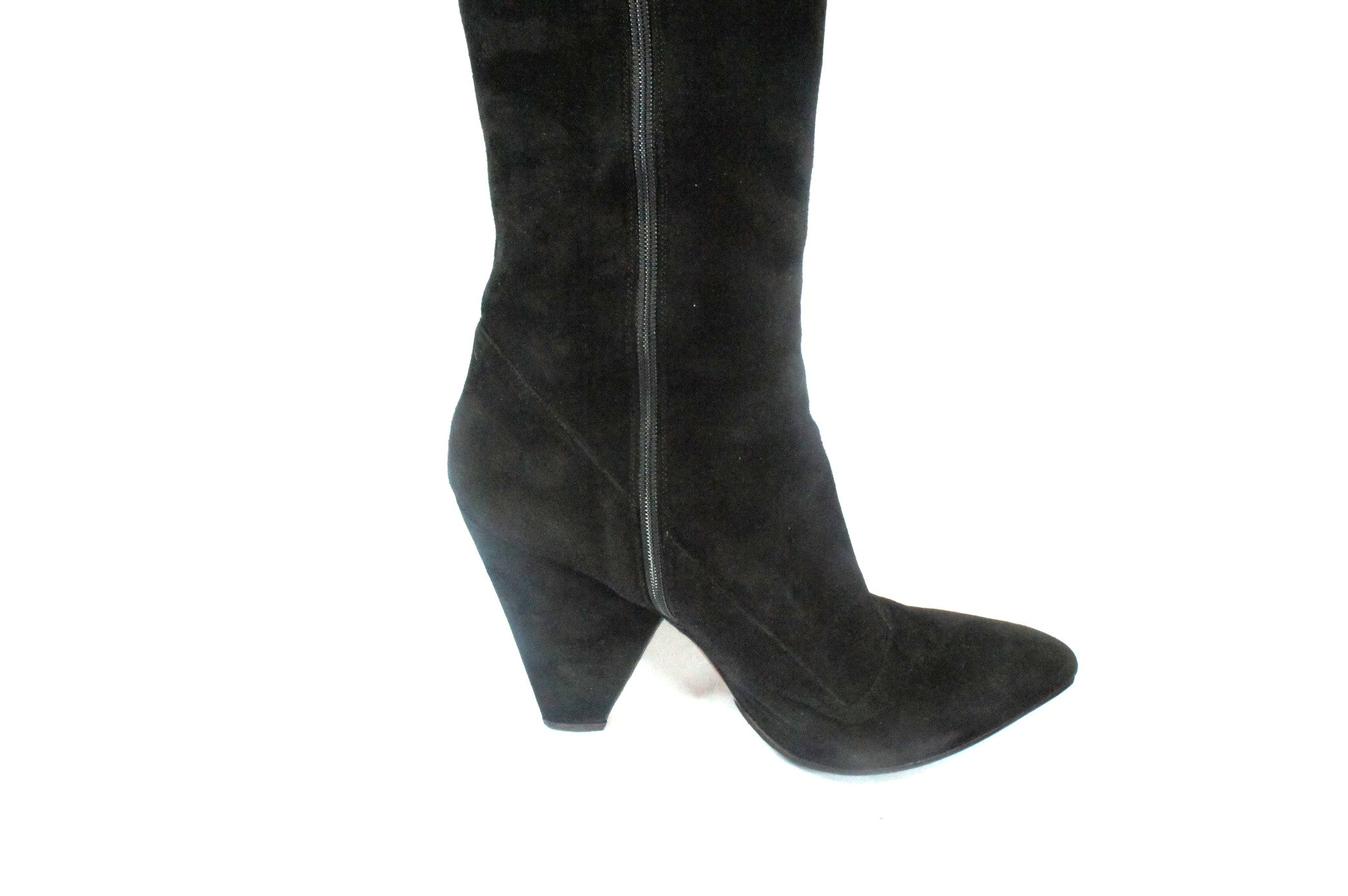 Alaia Black Suede Knee High Boots (Size 40) - Encore Consignment - 6