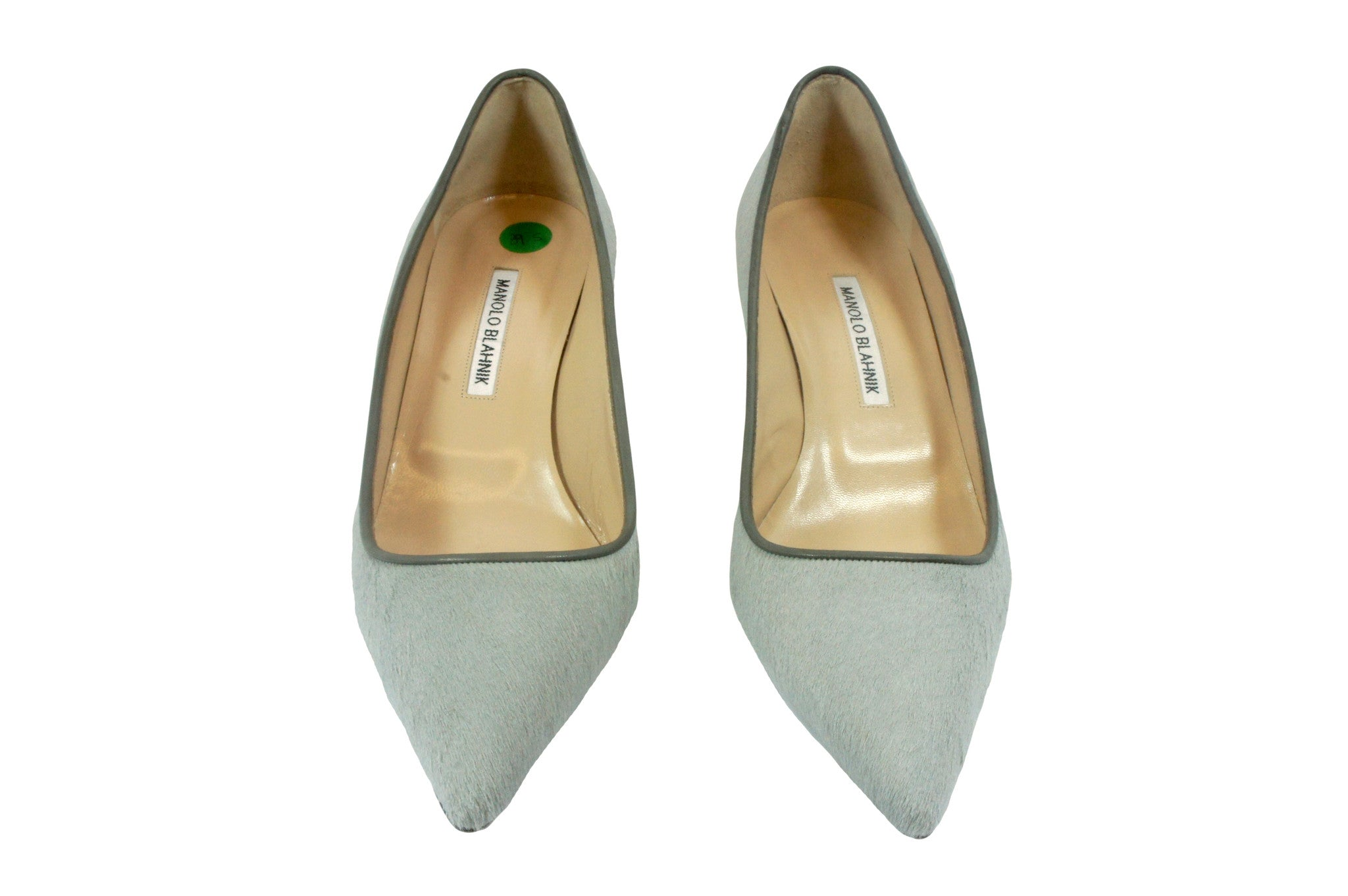 Manolo Blahnik Grey Calfhair Pumps (Size 39.5) - Encore Consignment - 1