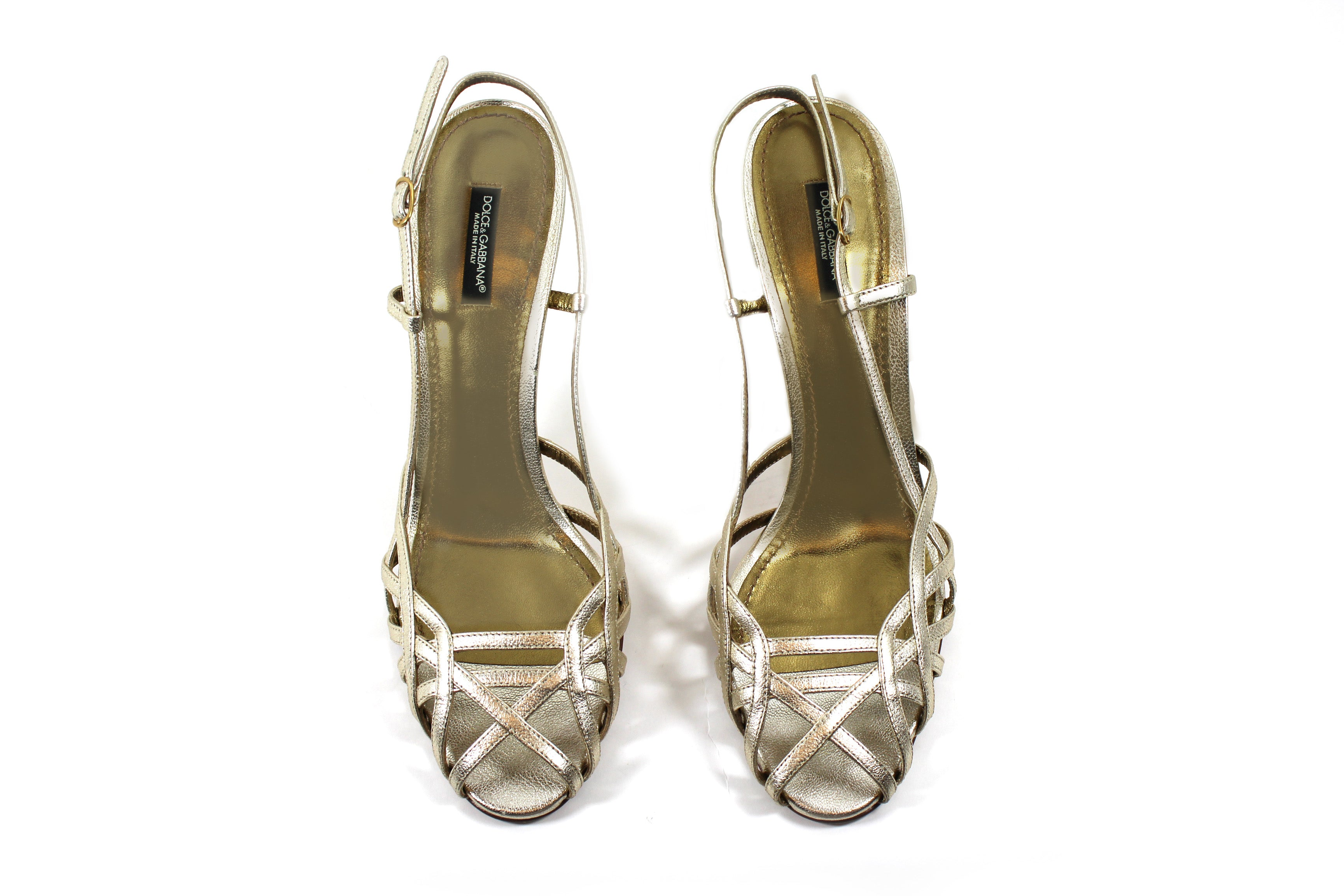306ee799c79 Dolce   Gabbana Strappy Gold Leather Sandals (Size 40) – Encore ...
