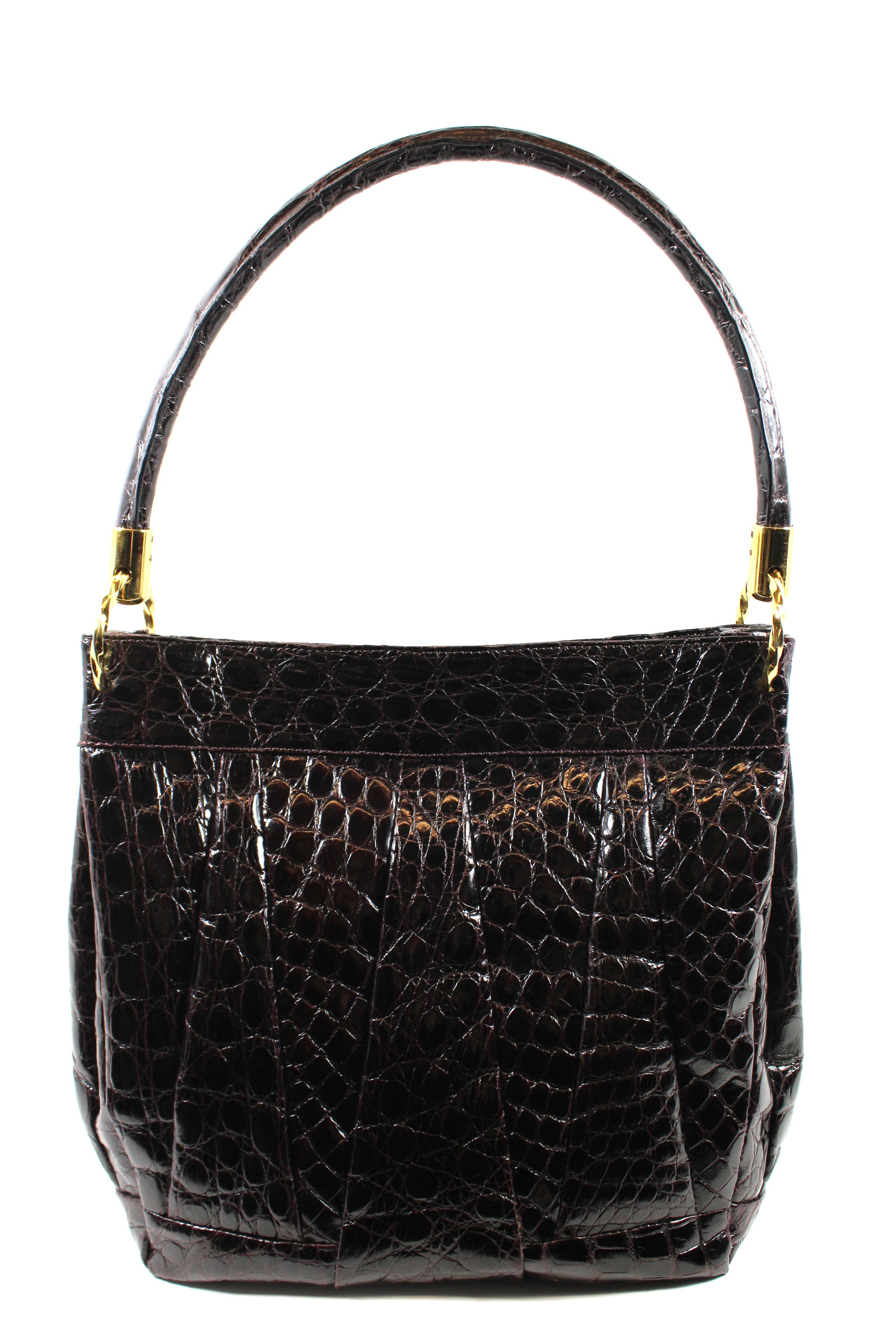 Domenico Vacca Dark Brown Alligator Shoulder Bag